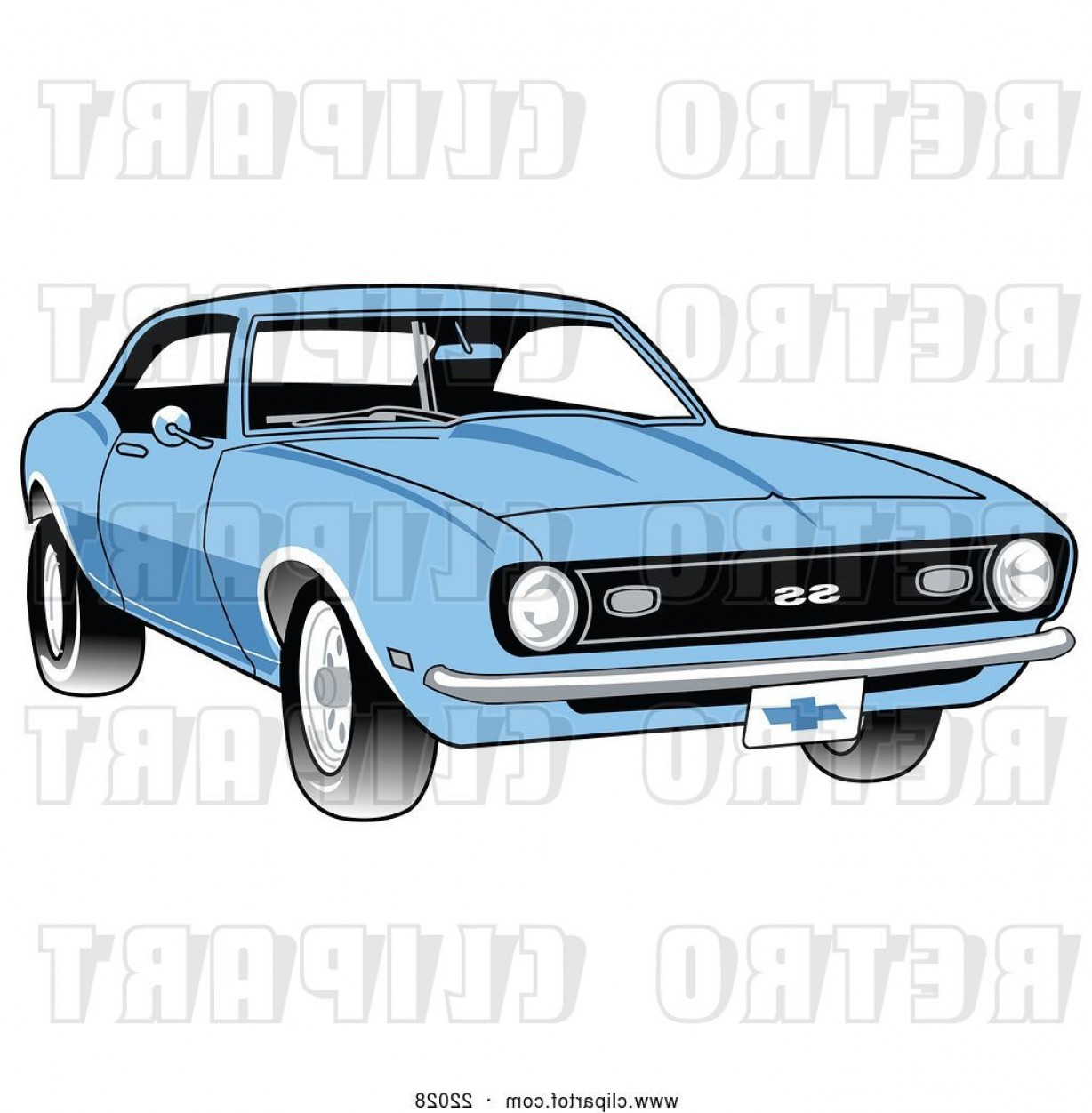 1969 Camaro Vector: Vector Clip Art Of Retro Light Blue Chevrolet Ss Camaro Muscle Car With A Chrome Bumper By Andy Nortnik
