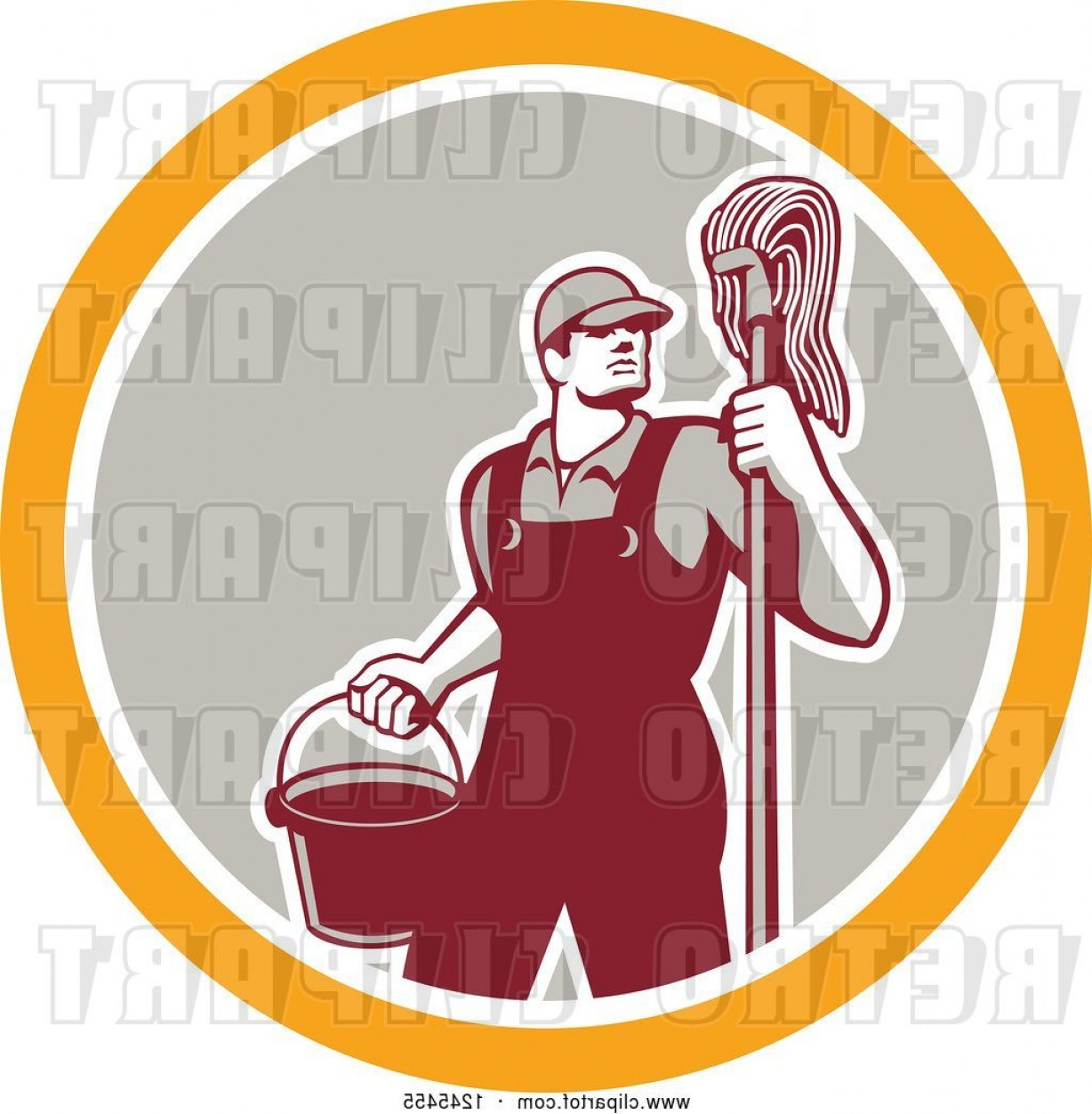 Mop And Bucket Clip Art Vector: Vector Clip Art Of Retro Male Janitor With A Mop And Bucket In A Circle By Patrimonio