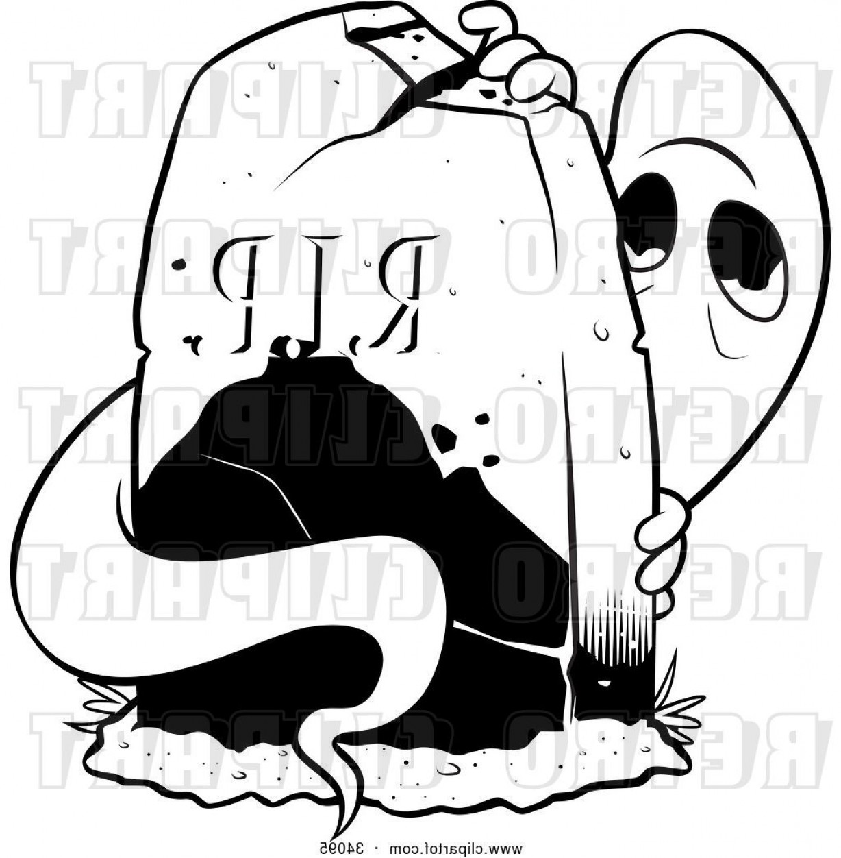 Gravestone Black And Whit Vector JPEG: Vector Clip Art Of Retro Spooked Ghost Peeking From Behind A Tombstone In A Cemetery By Lawrence Christmas Illustration