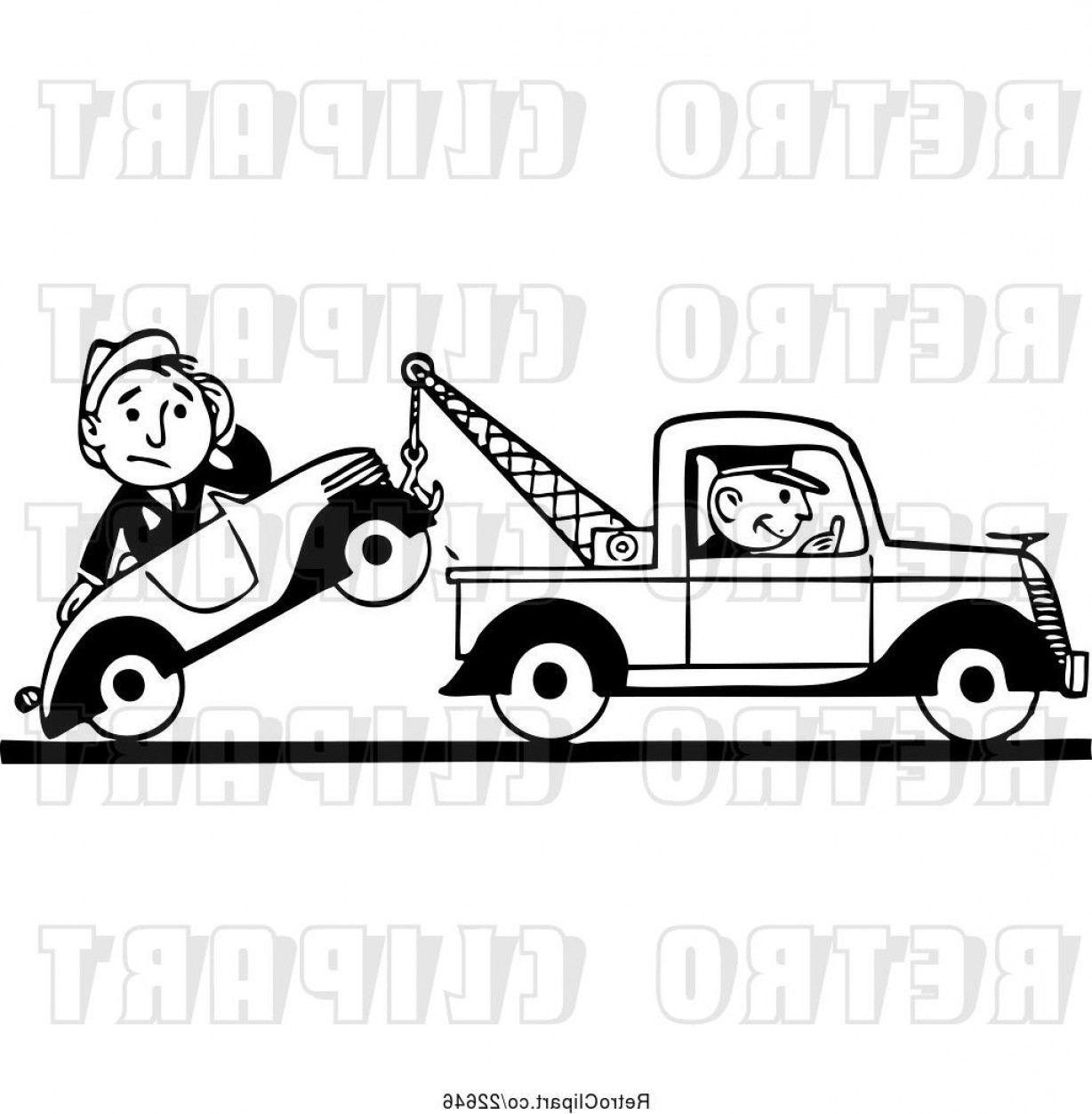 Towing Truck Hook Vector: Vector Clip Art Of Retro Tow Truck Driver And Guy In A Car By Bestvector