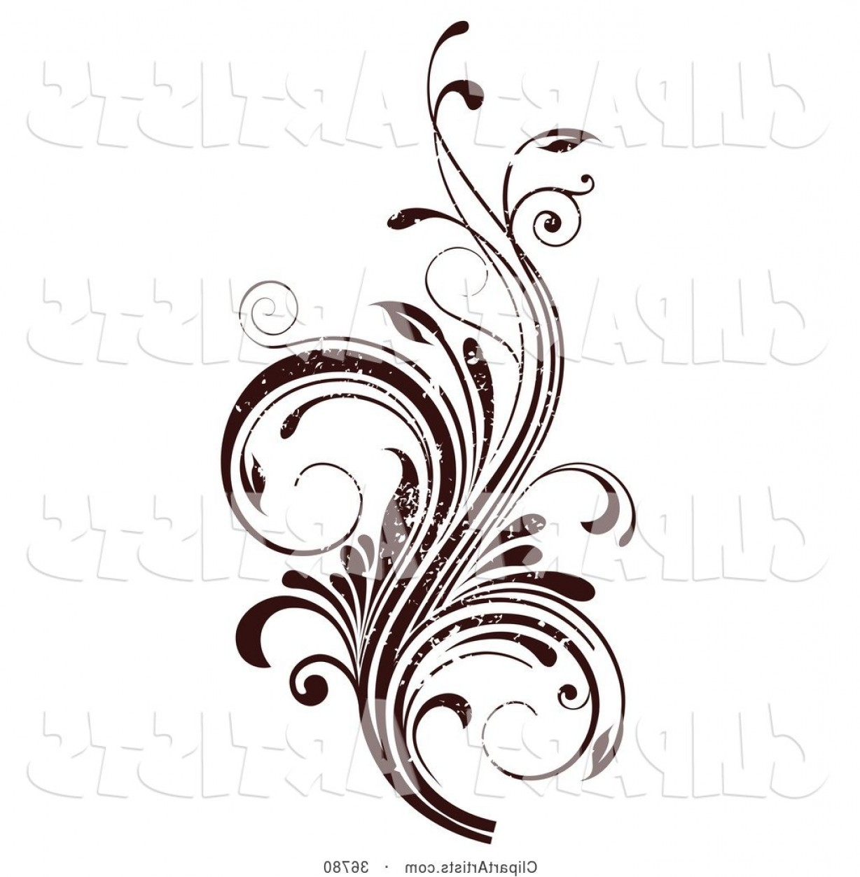 Grunge Scroll Vector Design: Vector Clipart Dark Brown Grunge Textured Curly Vine Scroll Design Element By Onfocusmedia