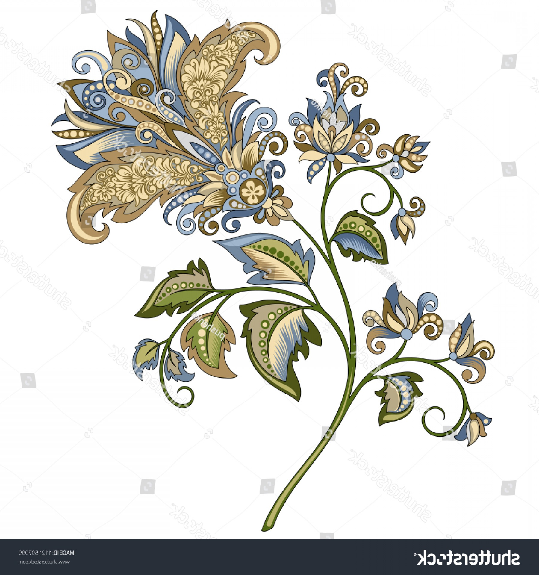 Gold And Blue Flower Vector: Vector Clipart Decorative Vintage Gold Blue