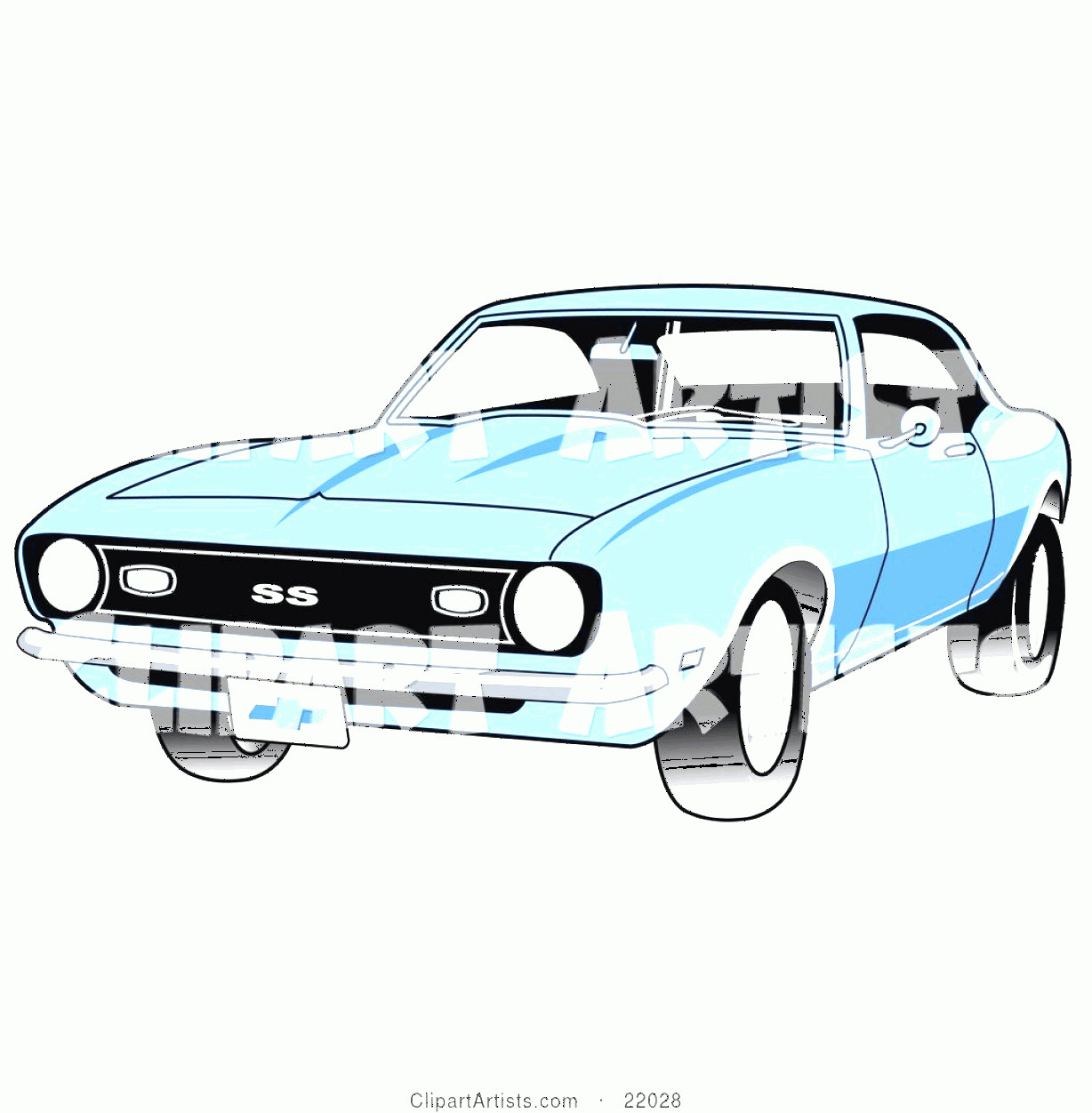 Camaro SS Logo Vector: Vector Clipart Light Blue Chevrolet Ss Camaro Muscle Car With A Chrome Bumper By Andy Nortnik