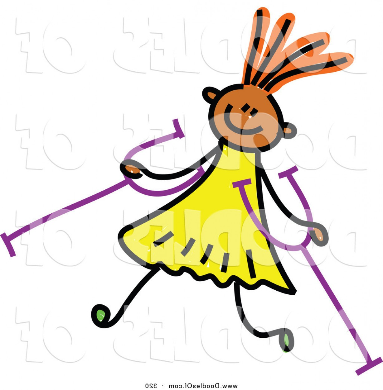 320 Vector: Vector Clipart Of A Childs Sketch Of A Happy Girl With Crutches By Prawny