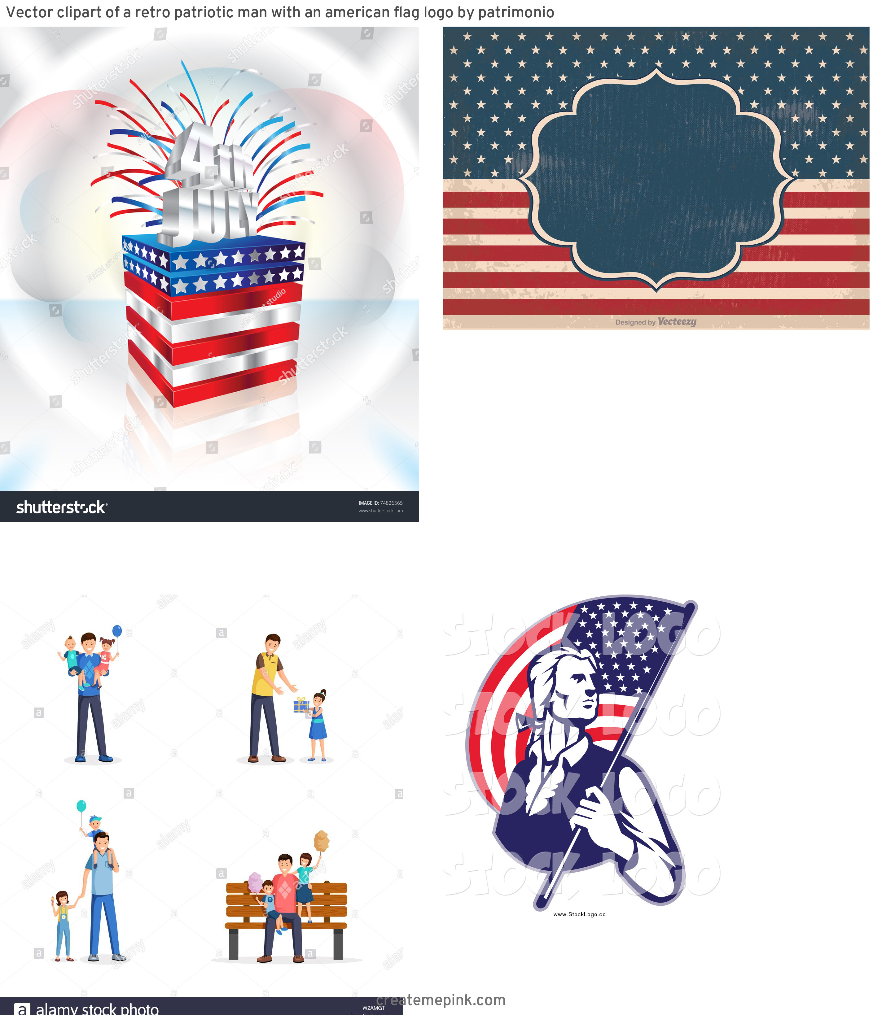 4th Of July Vectors For Men's: Vector Clipart Of A Retro Patriotic Man With An American Flag Logo By Patrimonio