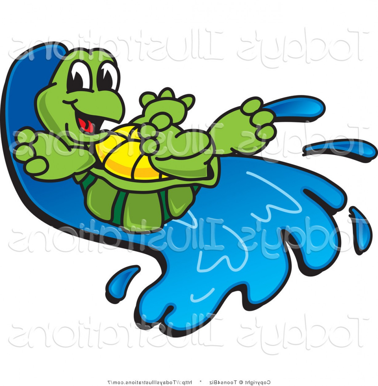 Vector Clip Art Of Water: Vector Clipart Of A Tortoise Going Down A Water Slide By Toonsbiz