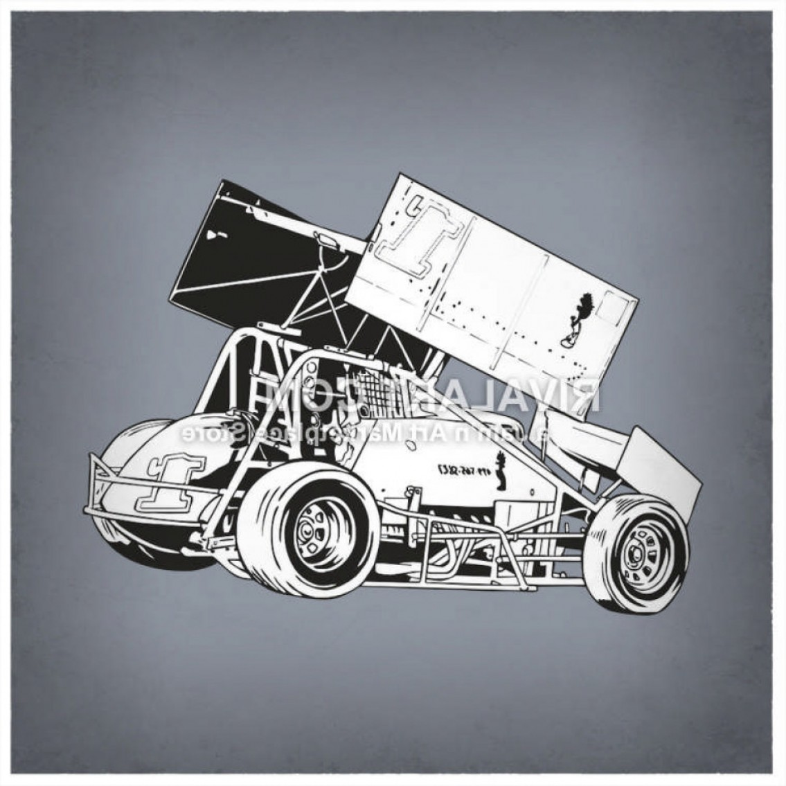 Sprint Car Vector: Vector Clipart Of Black White Sprint Car Race Racing Graphic In Vector Format