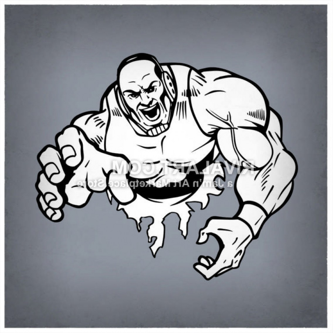 Superman Black And White Vector: Vector Clipart Of Black White Wrestling Wrestlers Mens Muscles Muscular Graphic