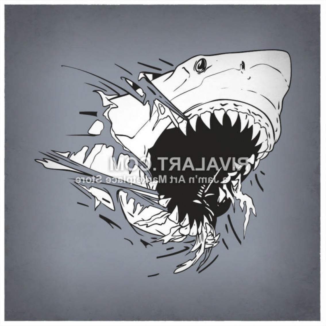 Bull Shark Jaws Vector Art: Vector Clipart Of Shark Shredding Graphic