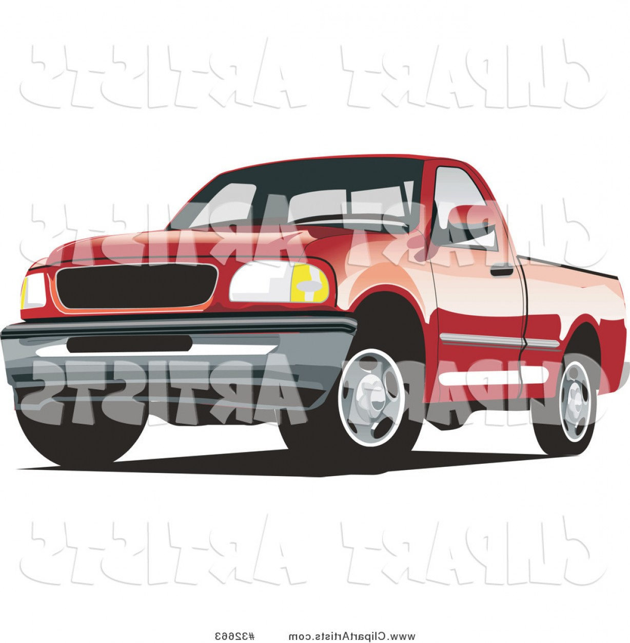 F150 Vector: Vector Clipart Red Ford F Pickup Truck By David Rey