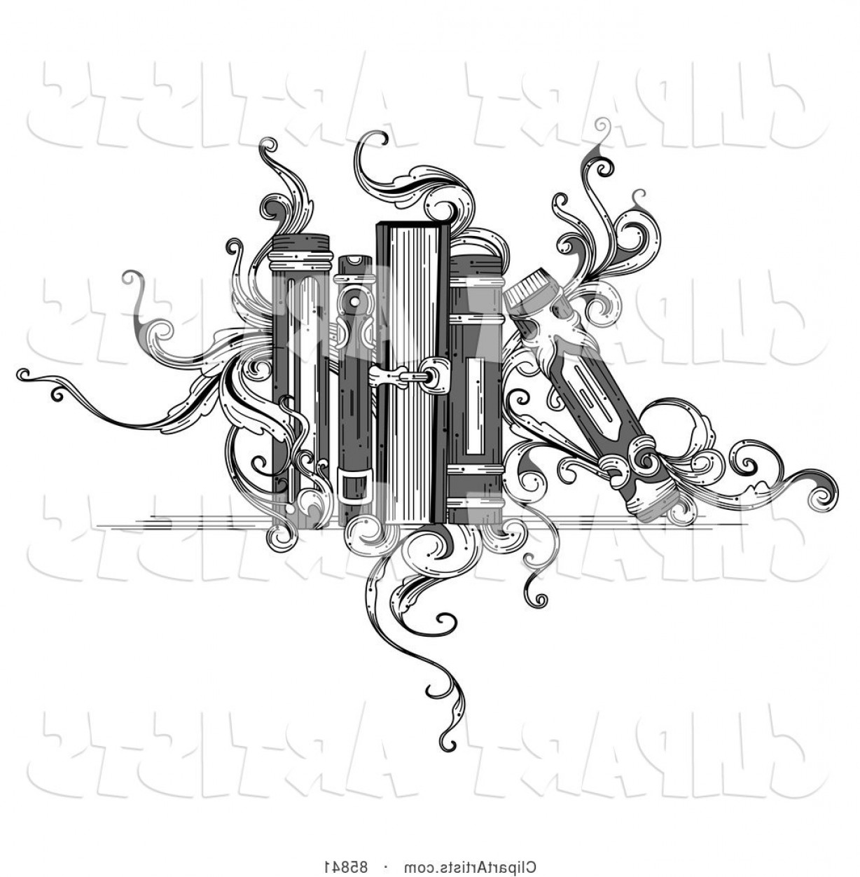 Vector Vintage Shelf: Vector Clipart Vintage Black And White Book Shelf With Books And Vines By Bnp Design Studio