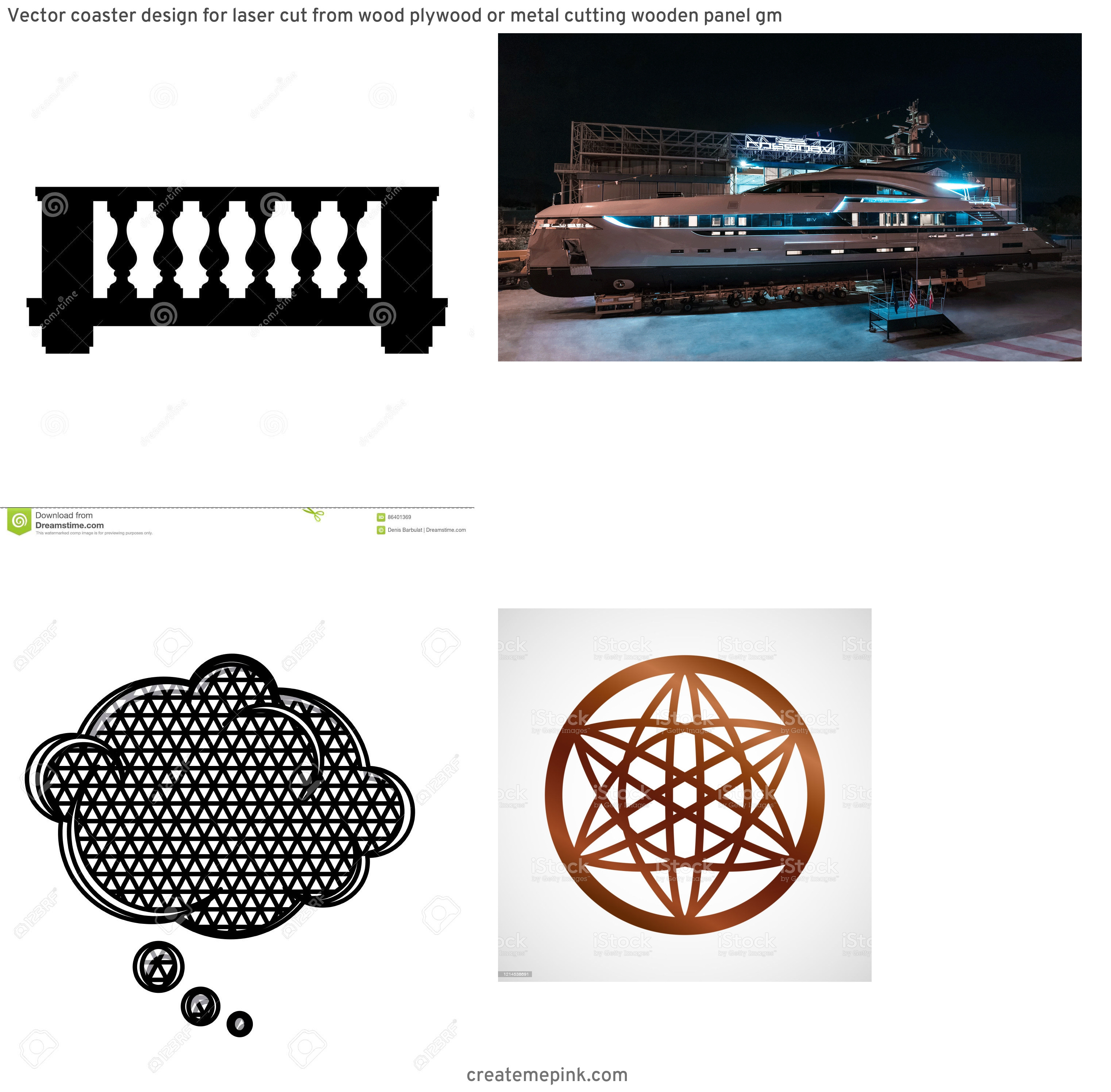 Vector Silhouette Metal Project: Vector Coaster Design For Laser Cut From Wood Plywood Or Metal Cutting Wooden Panel Gm