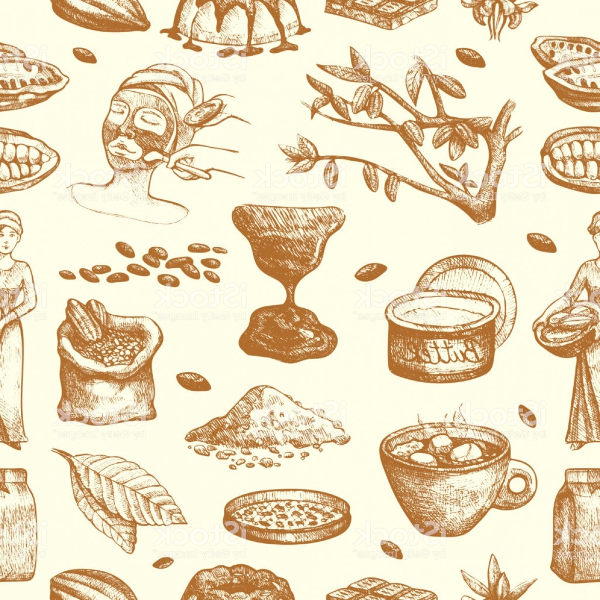 Chocolate Vector Plant: Vector Cocoa Products Hand Drawn Sketch Doodle Food Chocolate Sweet Cacao Gm