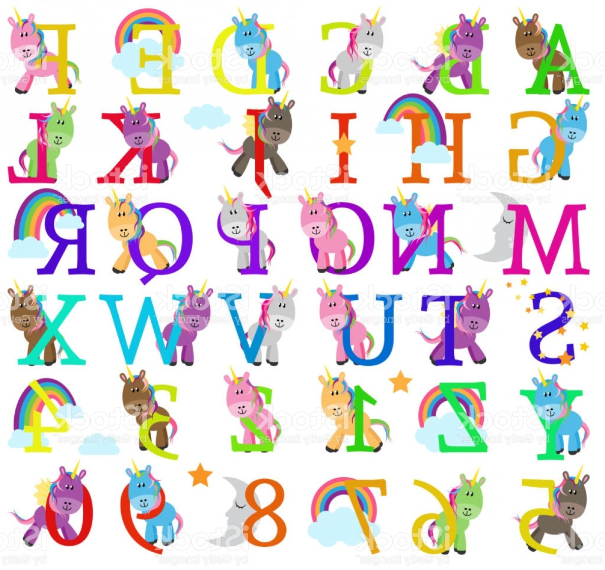 Alphabet Letters Vector Art: Vector Collection Of Cute Unicorn Themed Alphabet Letters Gm