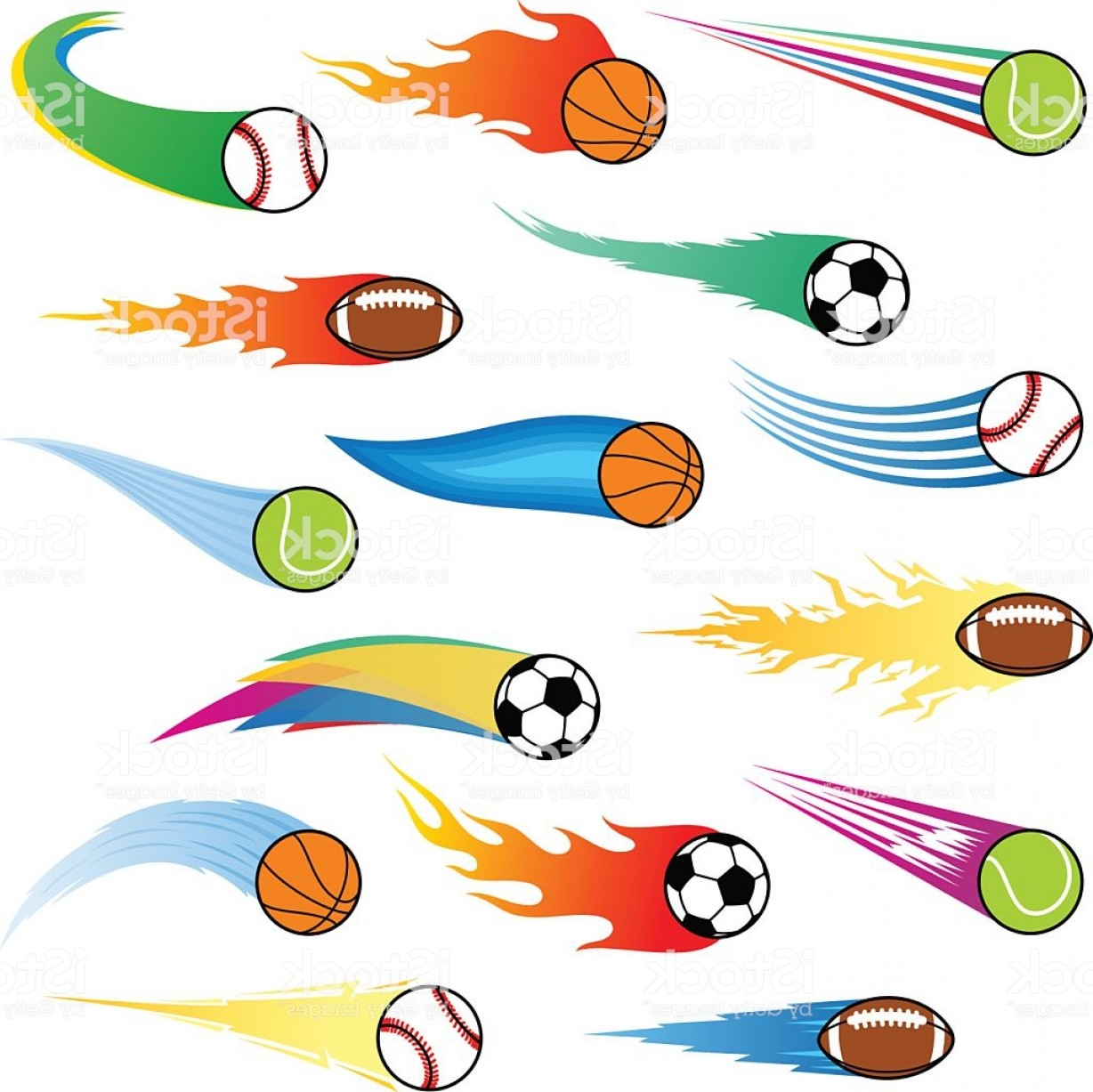 Motion Basketball Vector: Vector Color Flying Balls With Motion Trails Gm