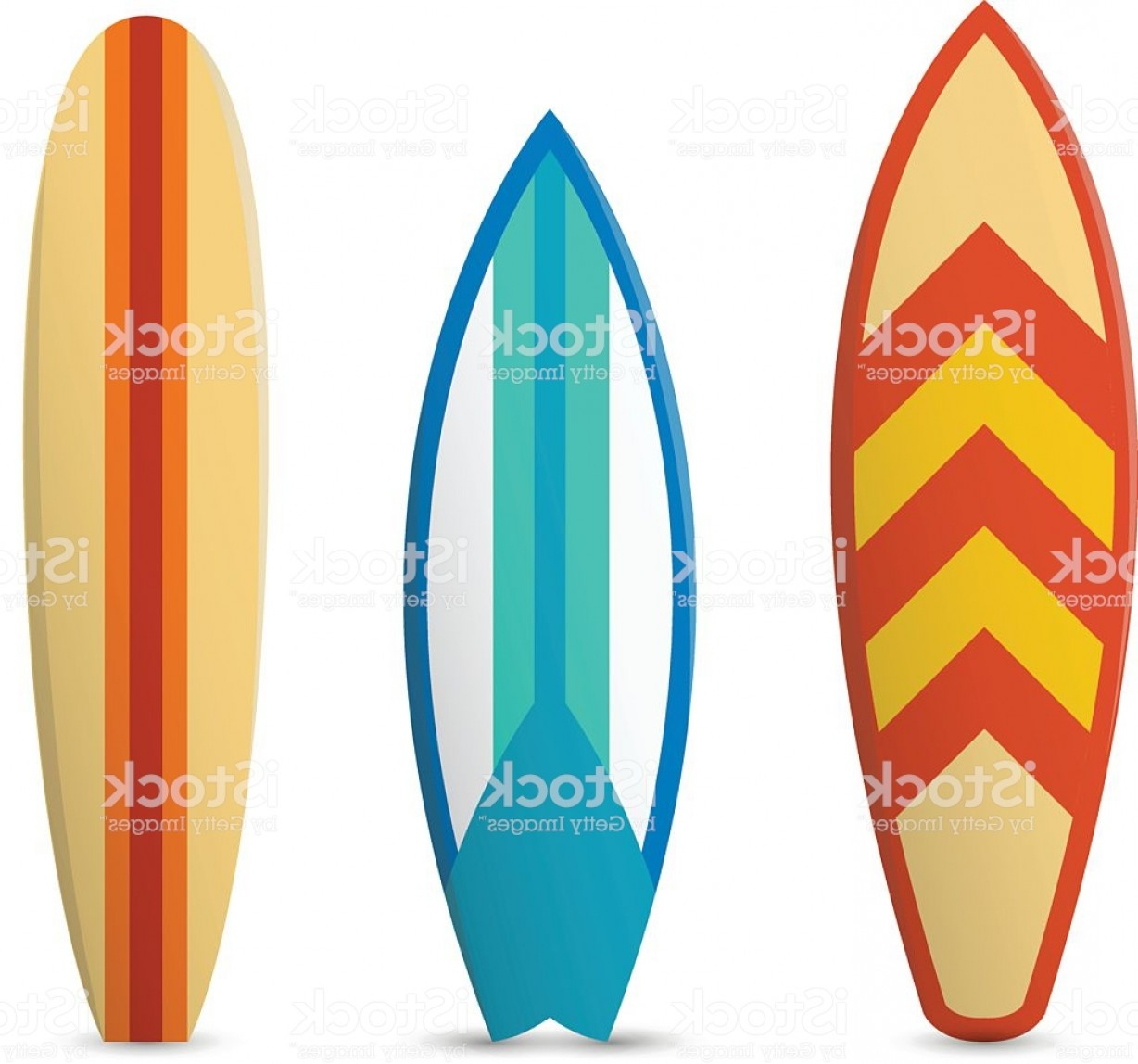 Orange Surfboard Vector: Vector Color Surfboard Set Gm