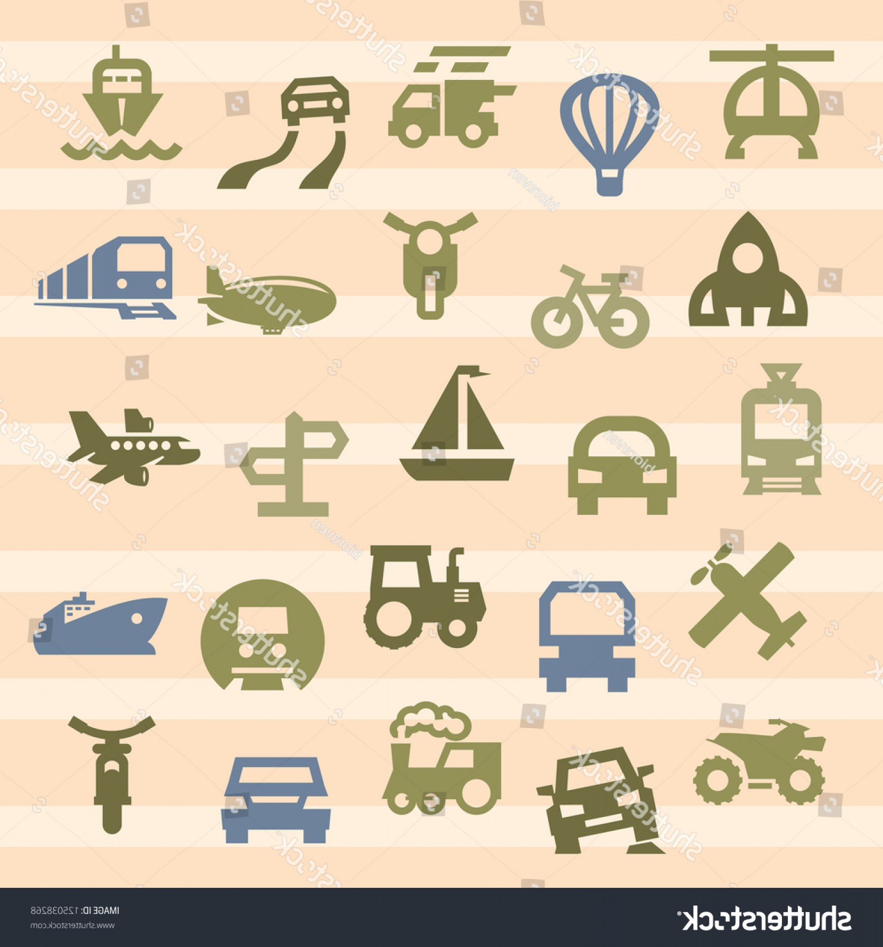 Wen Vehicle Vector Art: Vector Color Transportation Icon Set On