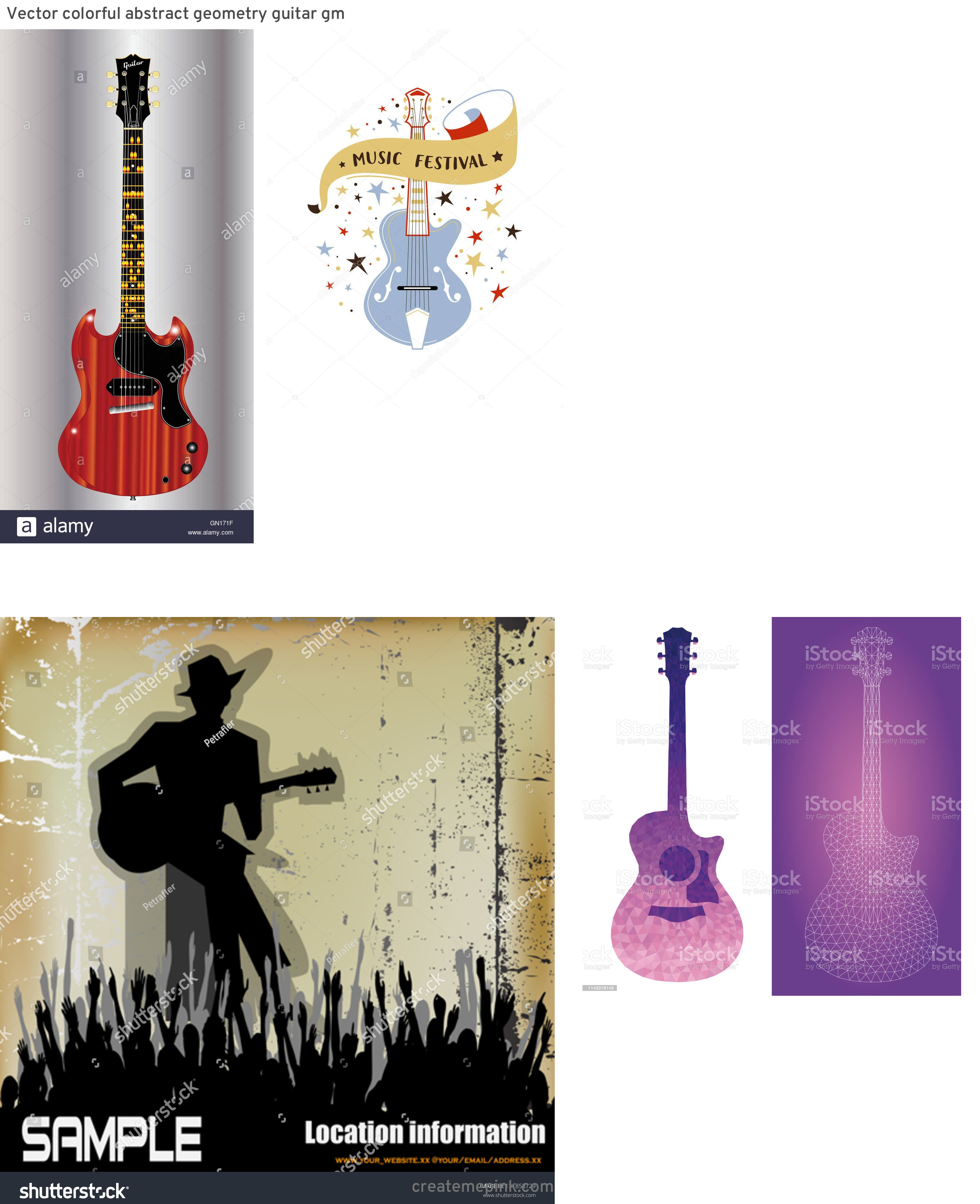Blues Guitarist Vector Art: Vector Colorful Abstract Geometry Guitar Gm