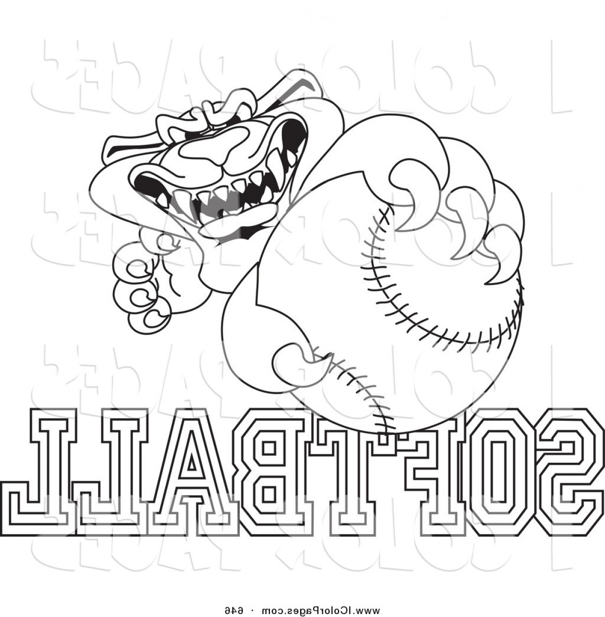 Panther Mascot Vector Sports: Vector Coloring Page Of A Outline Design Of A Panther Character Mascot With Softball Text By Toonsbiz