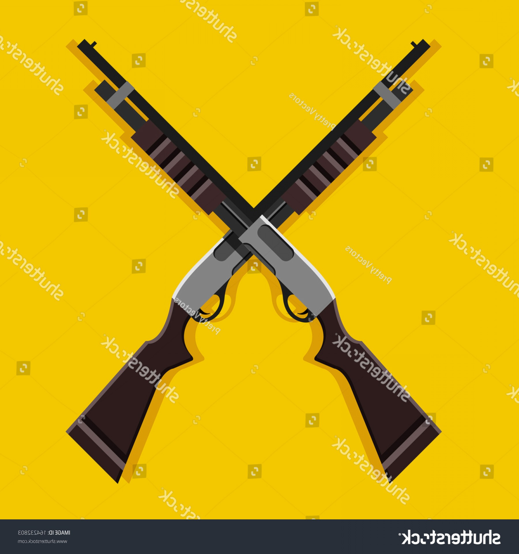 Hunting Rifle Vector Cross: Vector Crossed Pumpaction Shotguns Icon