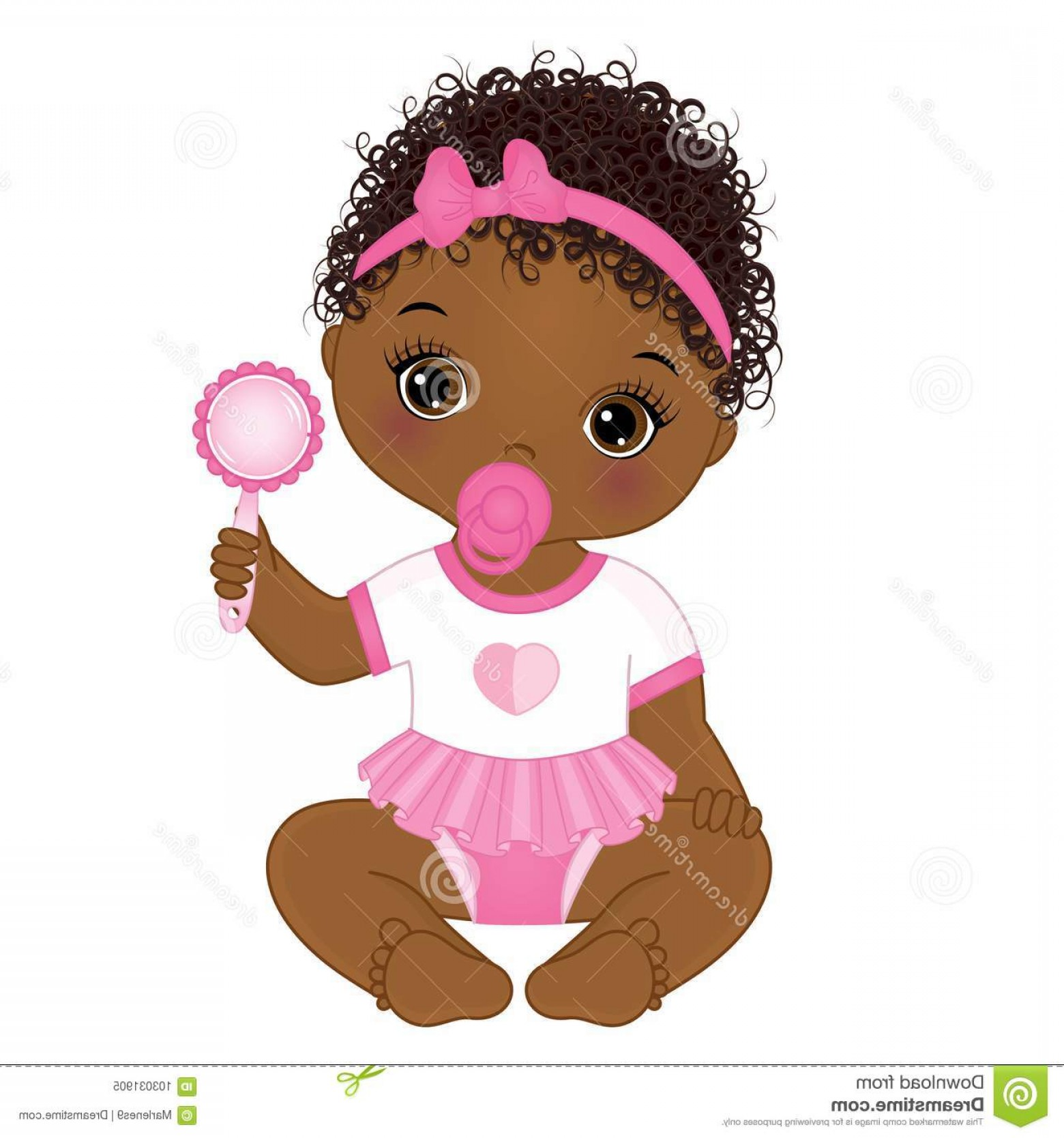 Nautical Vector Art Baby Rattle: Vector Cute African American Baby Girl Rattle Vector Cute African American Baby Girl Rattle Sitting Vector Baby Girl Image