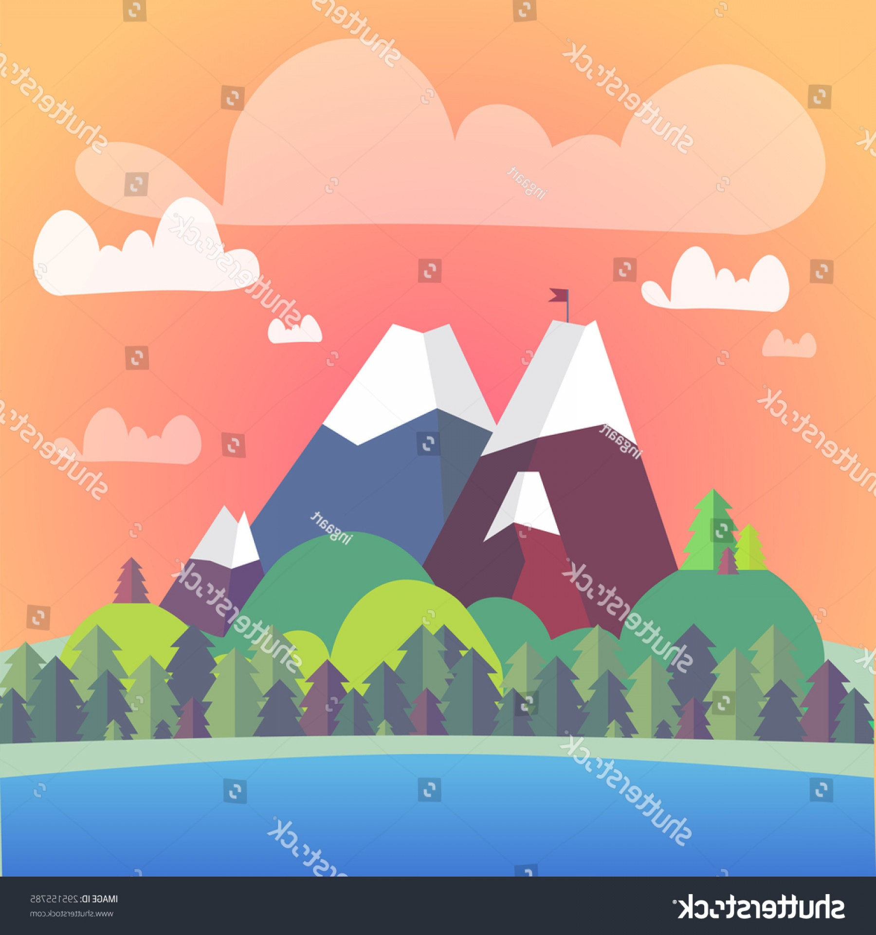 Flat Vector Background Sunset: Vector Cute Flat Landscape Mountain Forest