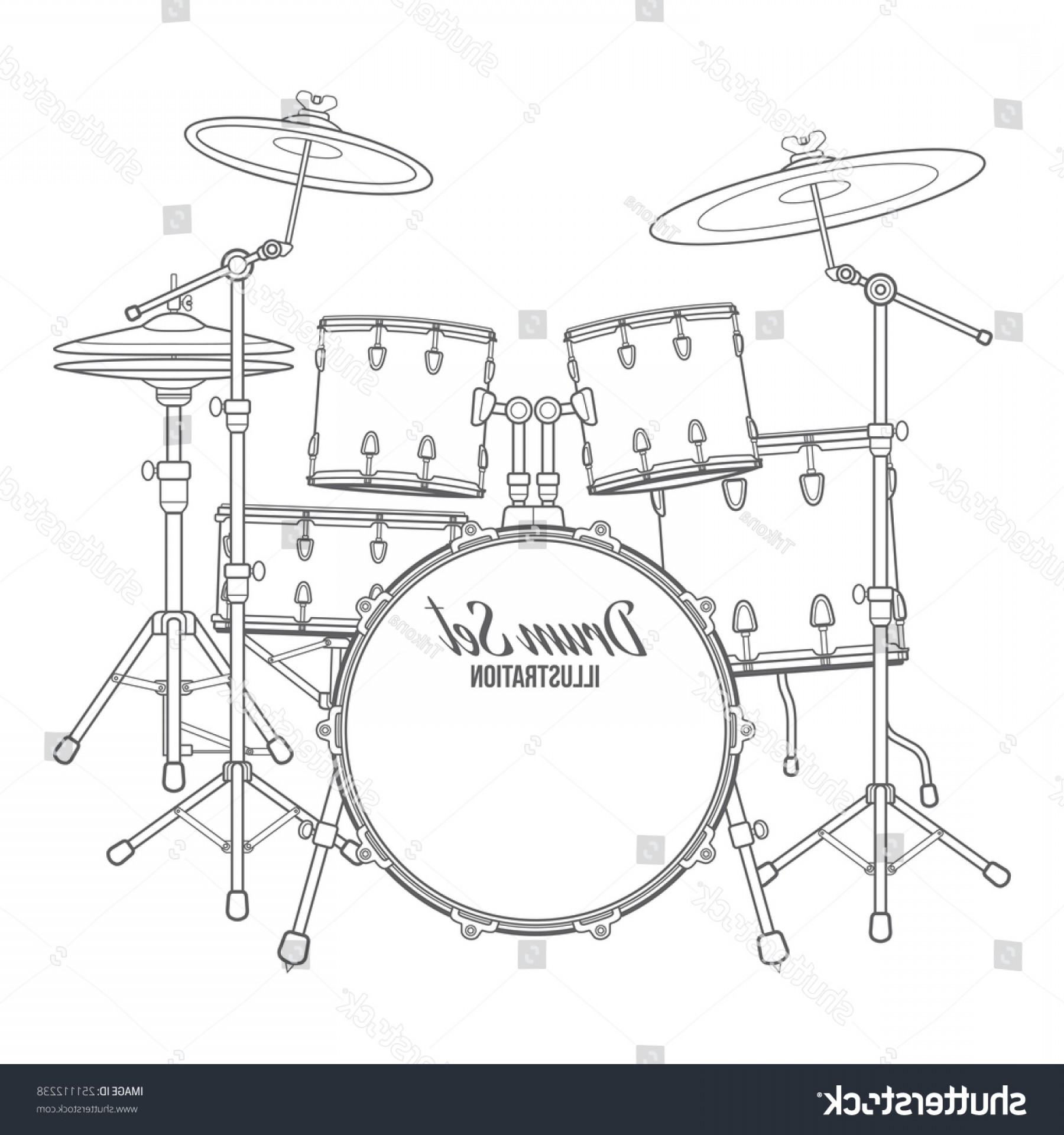 Vector Bass Drum Pedal: Vector Dark Outline Drum Set On