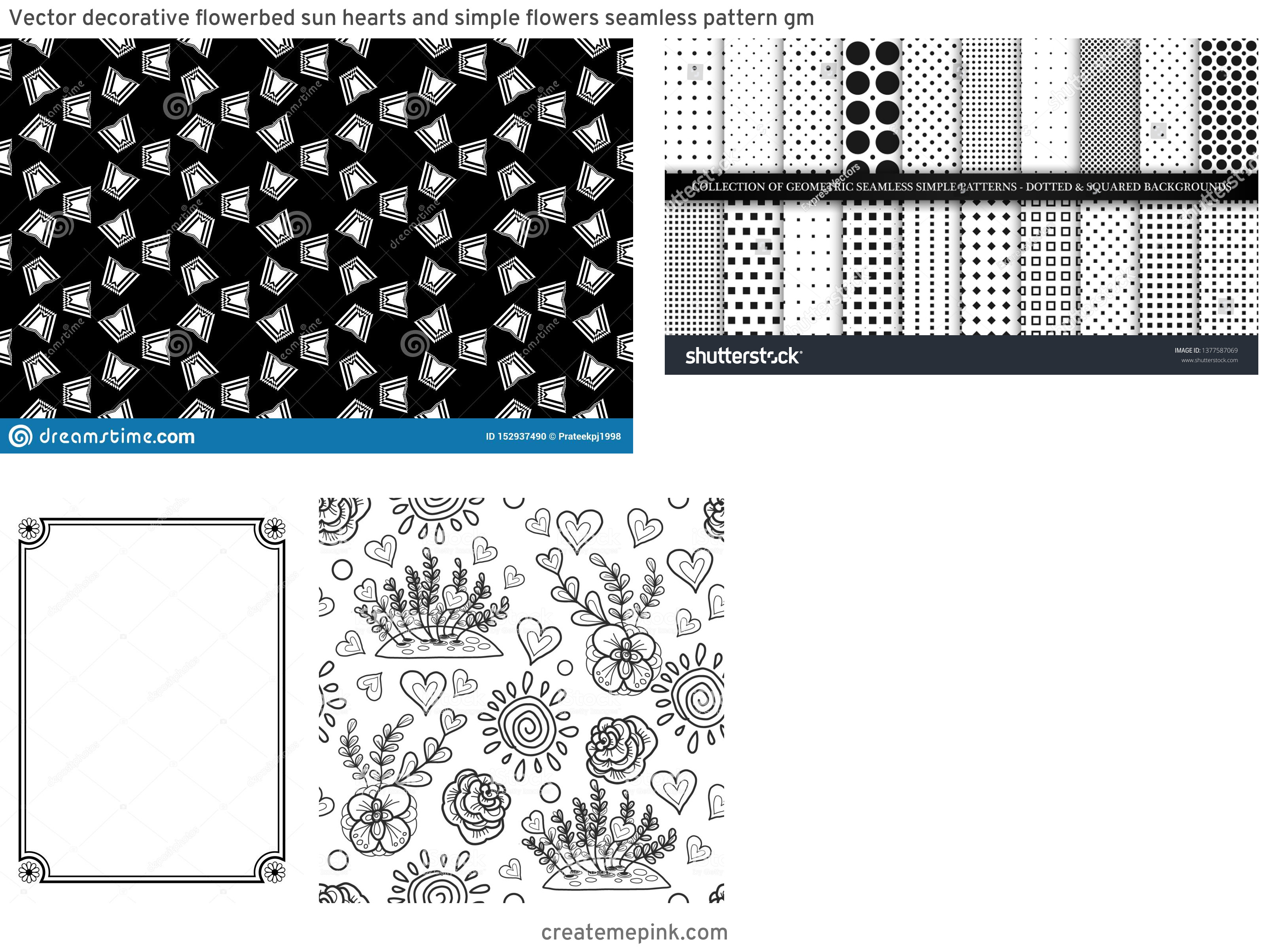 Simple Black Decorative Vector Patterns: Vector Decorative Flowerbed Sun Hearts And Simple Flowers Seamless Pattern Gm
