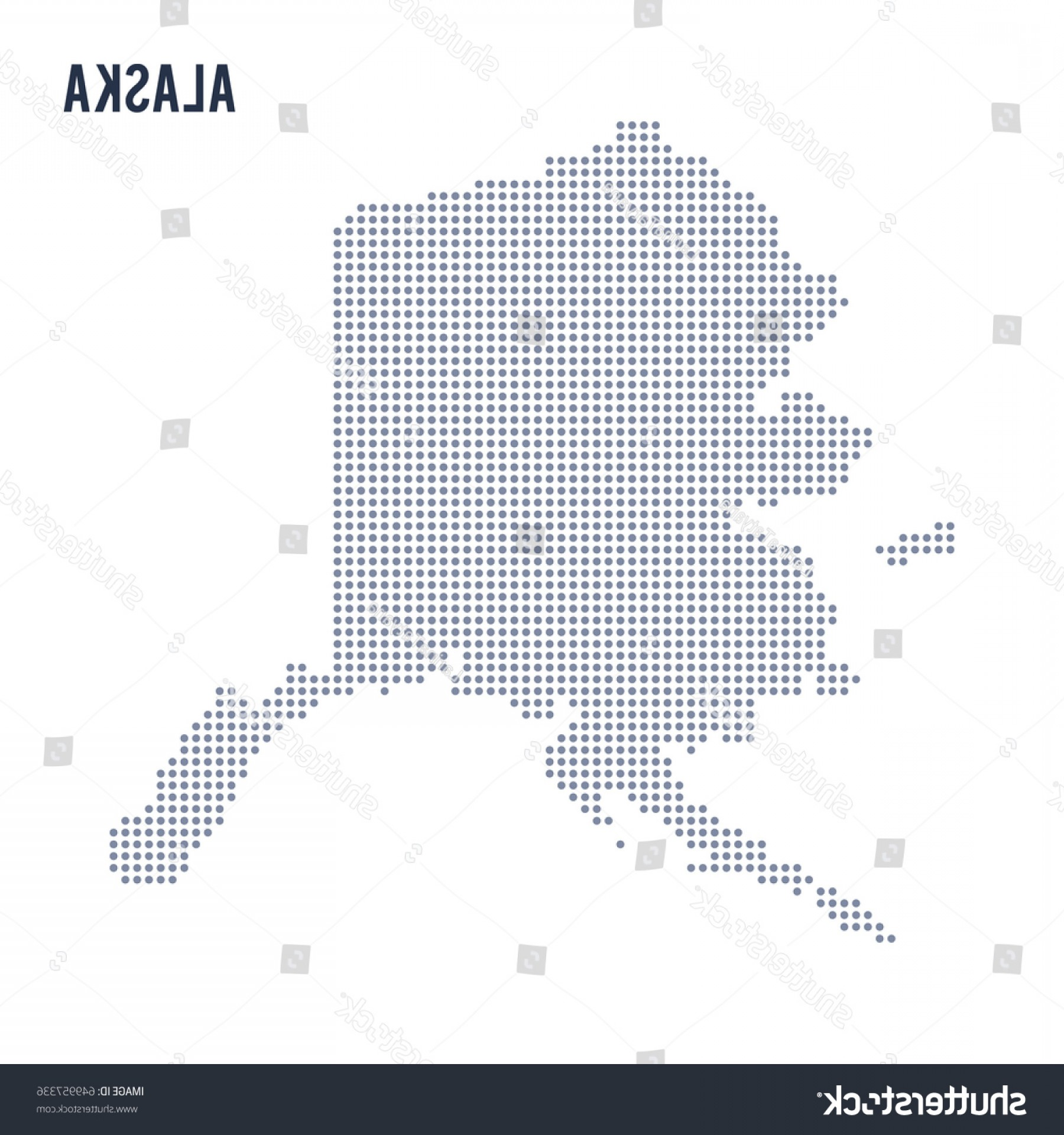 Alaska State White Background Vectors: Vector Dotted Map State Alaska Isolated