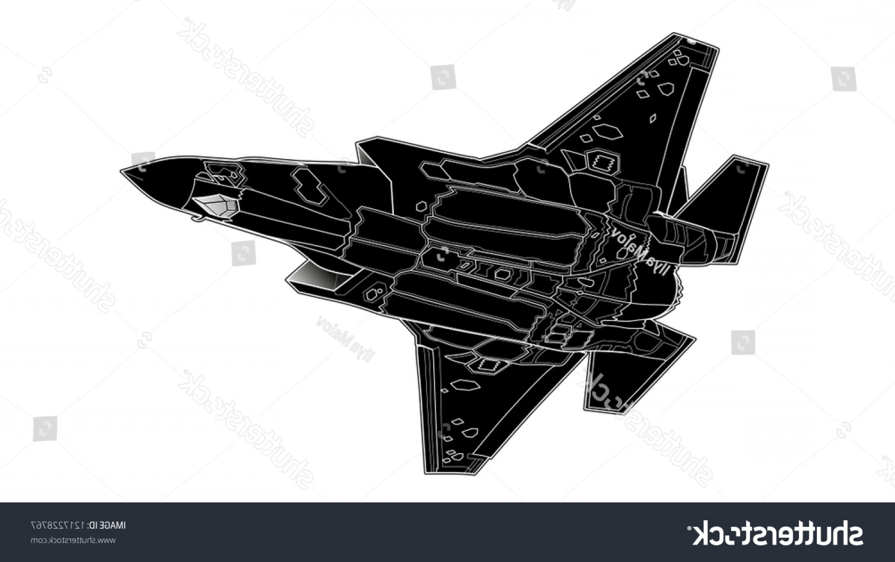 Old School Airplane Fighter Silhouette Vector: Vector Draw Modern American Jet Fighter