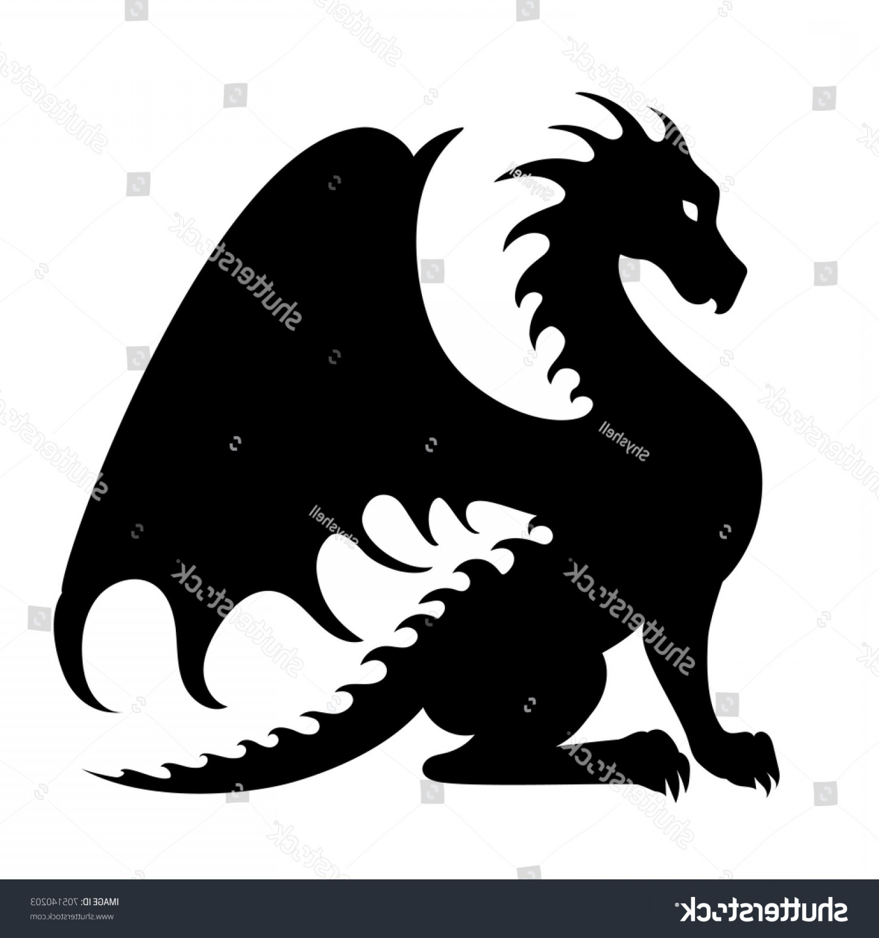 Baby Dragon Silhouette Vector: Vector Drawing Black Dragon Silhouette That