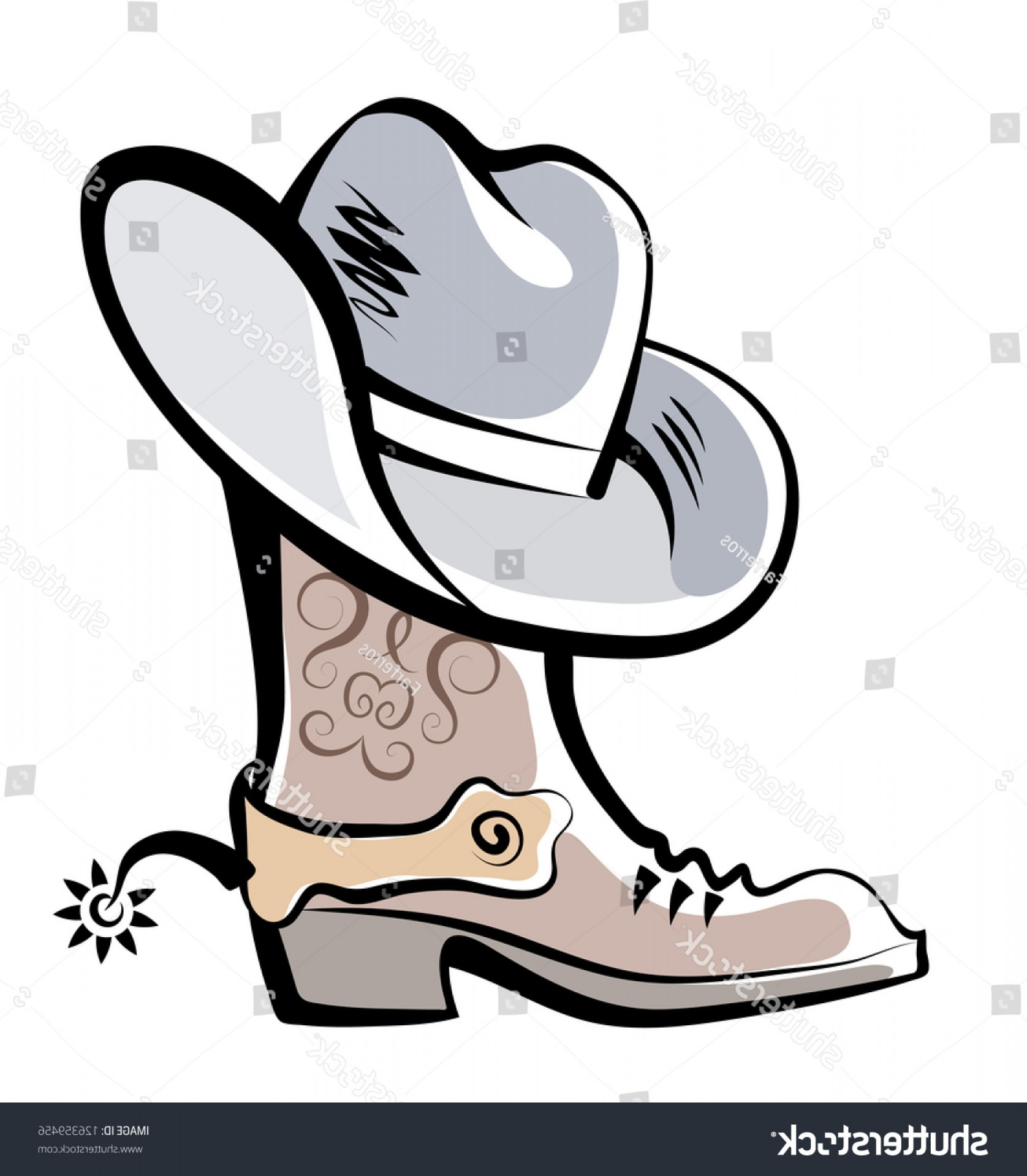 Cowboys Line Drawings Vector: Vector Drawing Boot Hat Cowboy