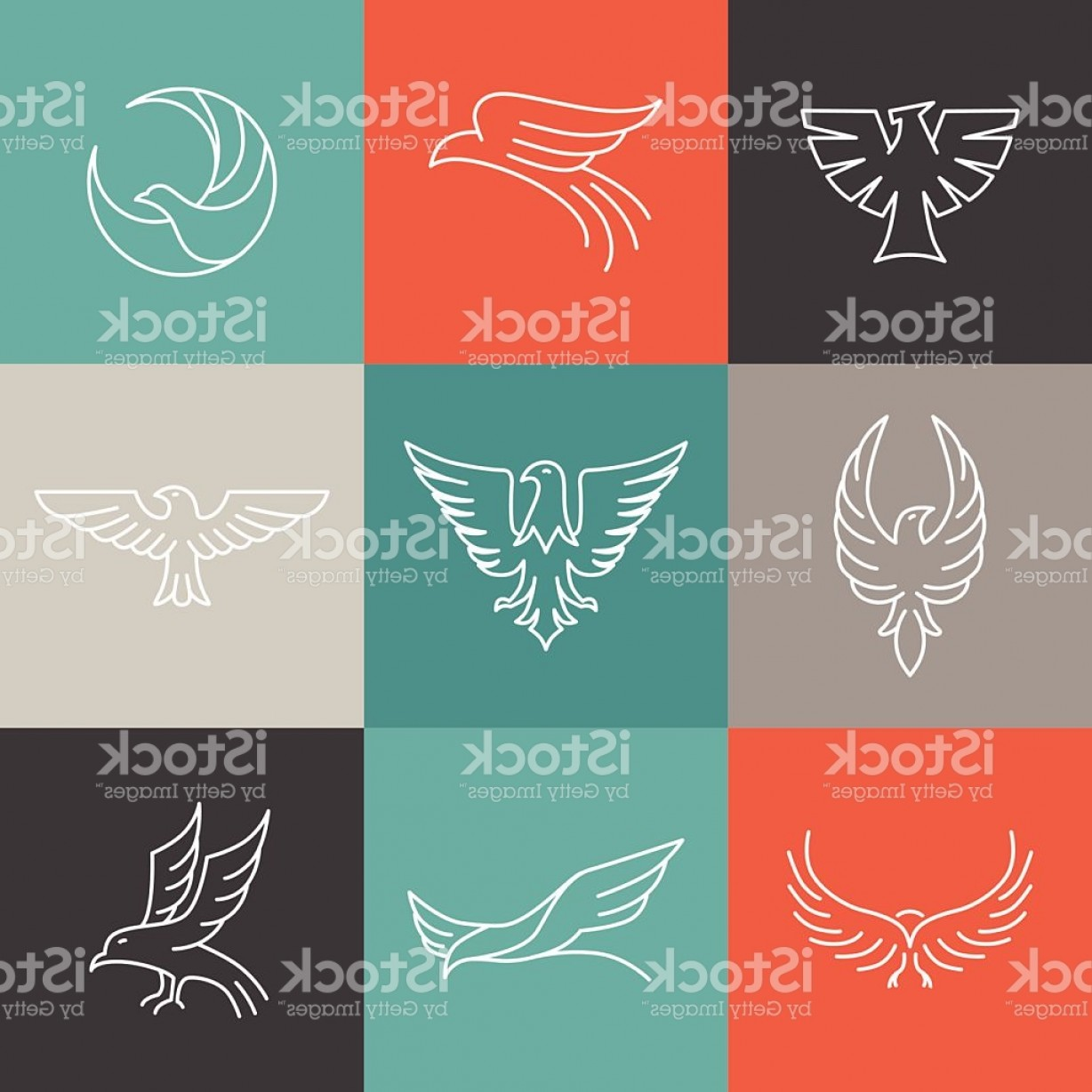 Falcon Wing Vector Art: Vector Eagle And Falcon Linear Logos Gm