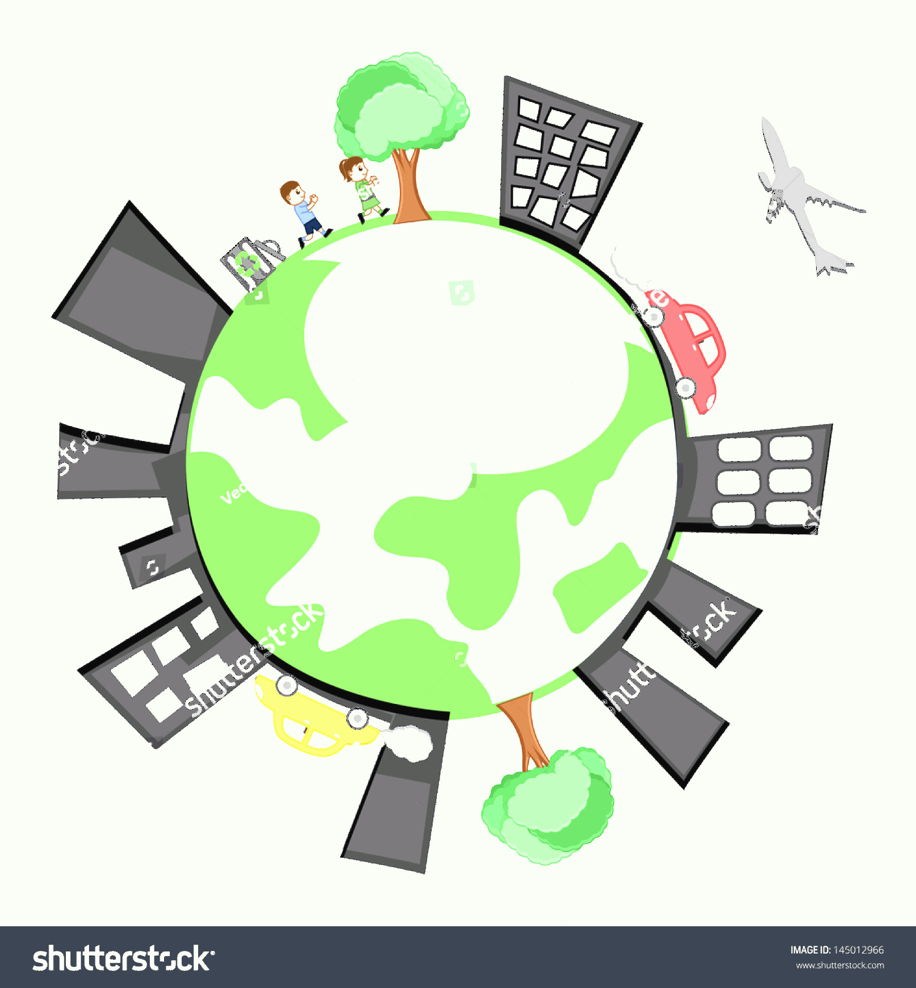 Earth With Buildings Vector: Vector Earth Showing Buildings Childrens Trees