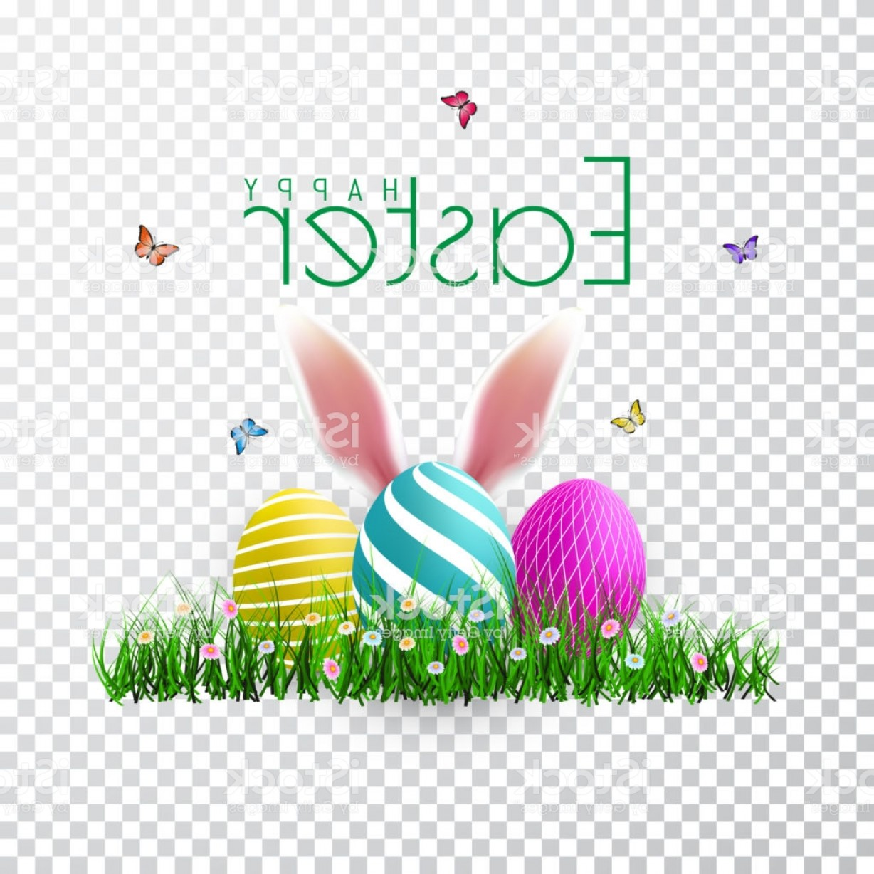 Easter Vector No Background: Vector Easter Eggs With Grass Butterfly And Flowers Isolated On A Transparent Gm