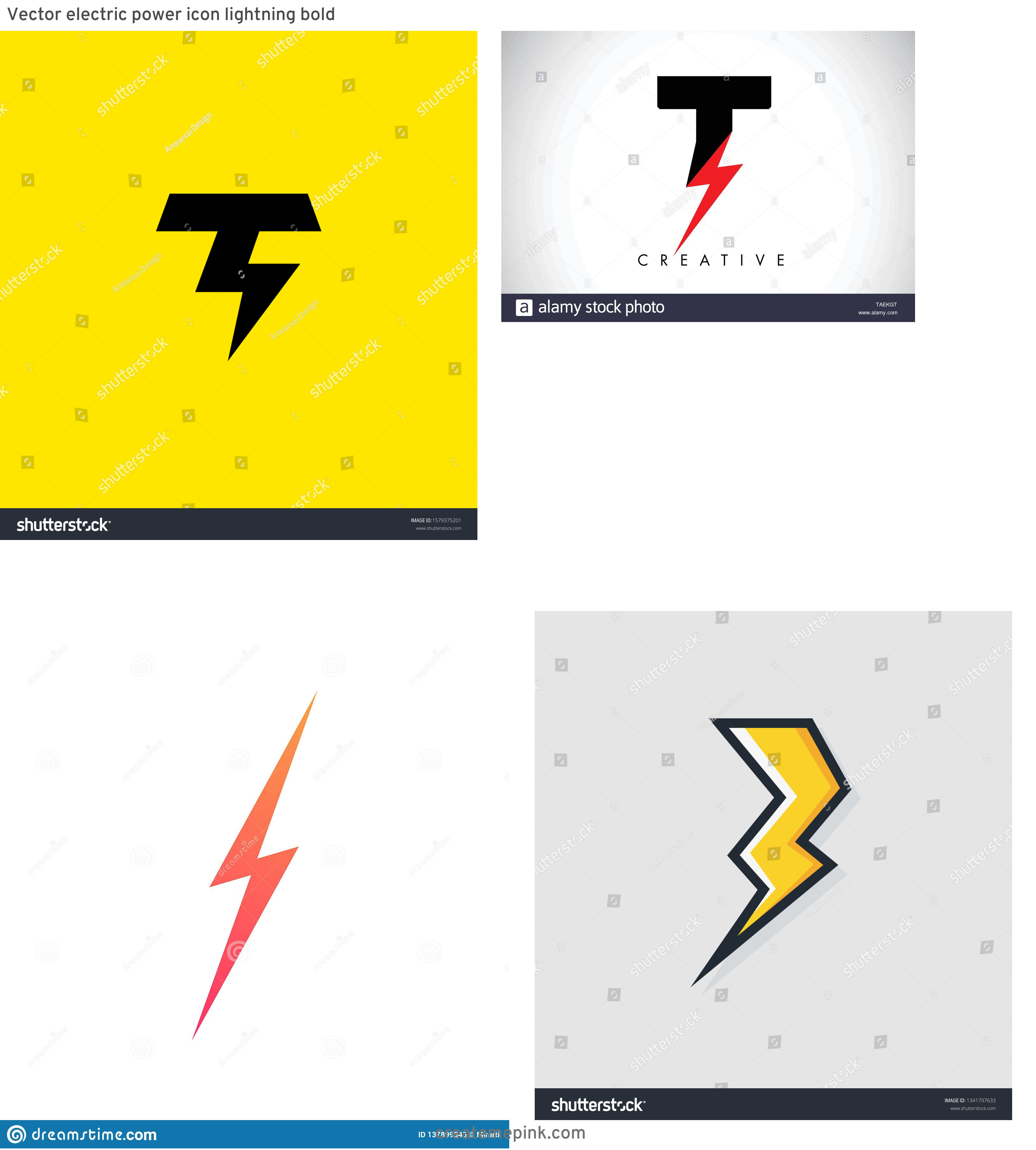 Lightning Vector T: Vector Electric Power Icon Lightning Bold