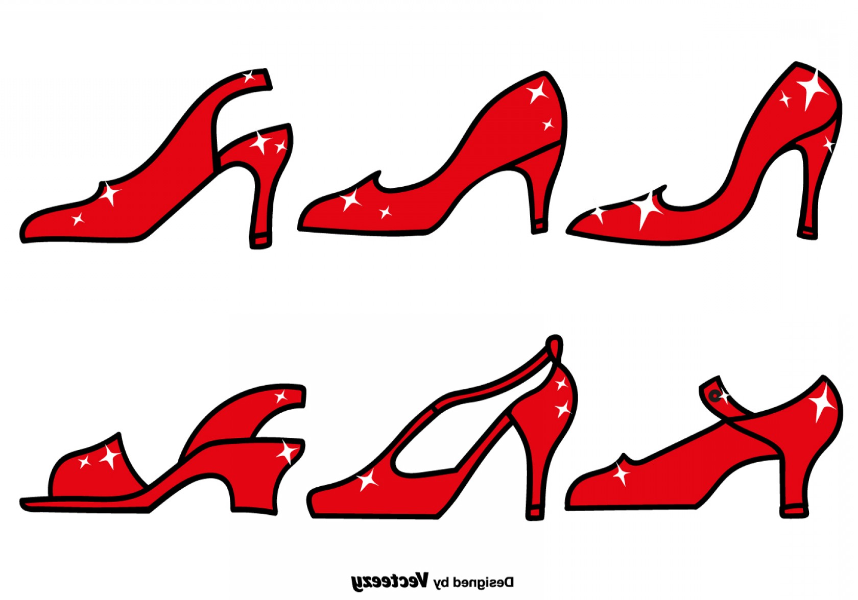Ruby Red Slippers Vector Art: Vector Elegant Red Slippers Line Icons Set