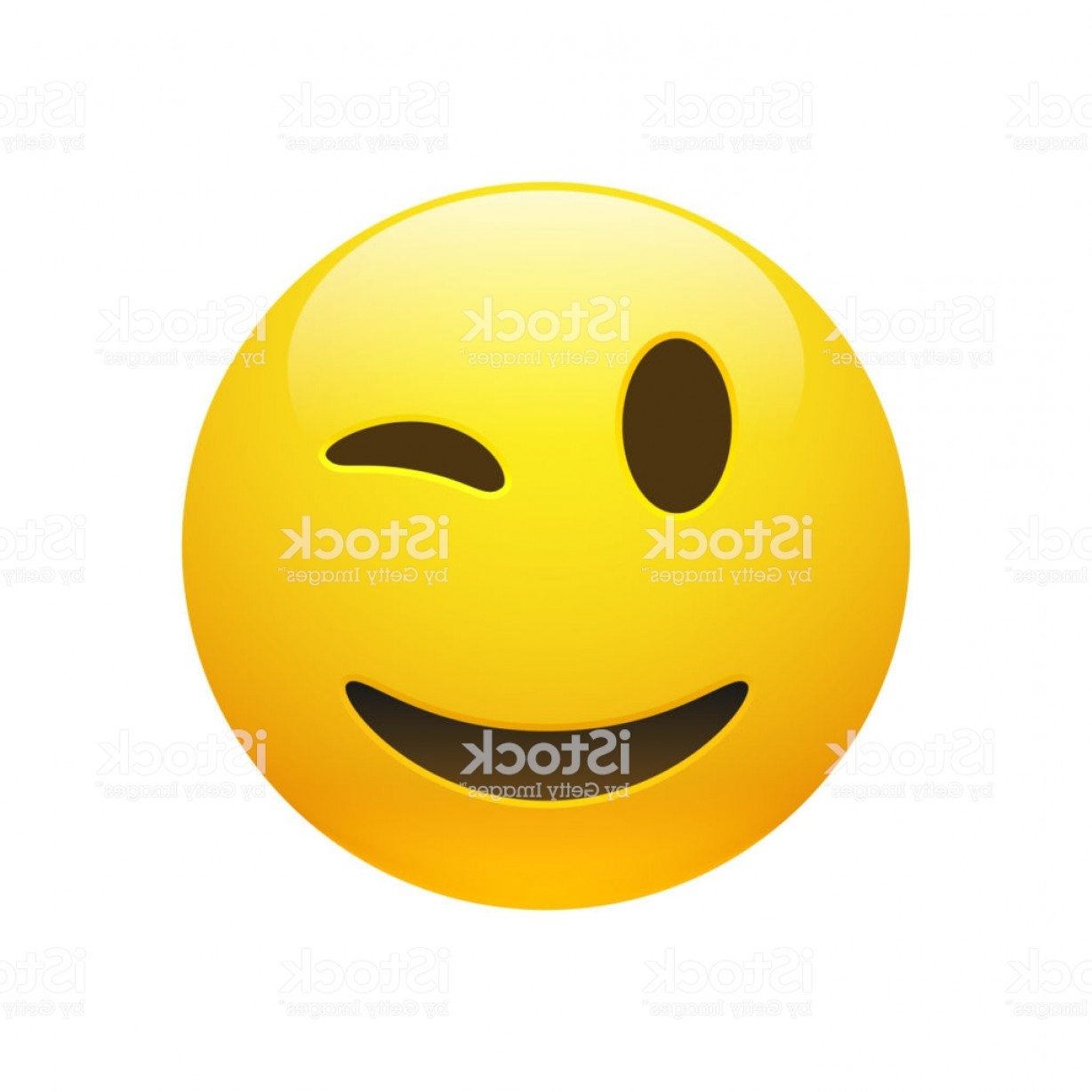 Smiley-Face Winking Vector: Vector Emoji Yellow Smiley Winking Face Gm