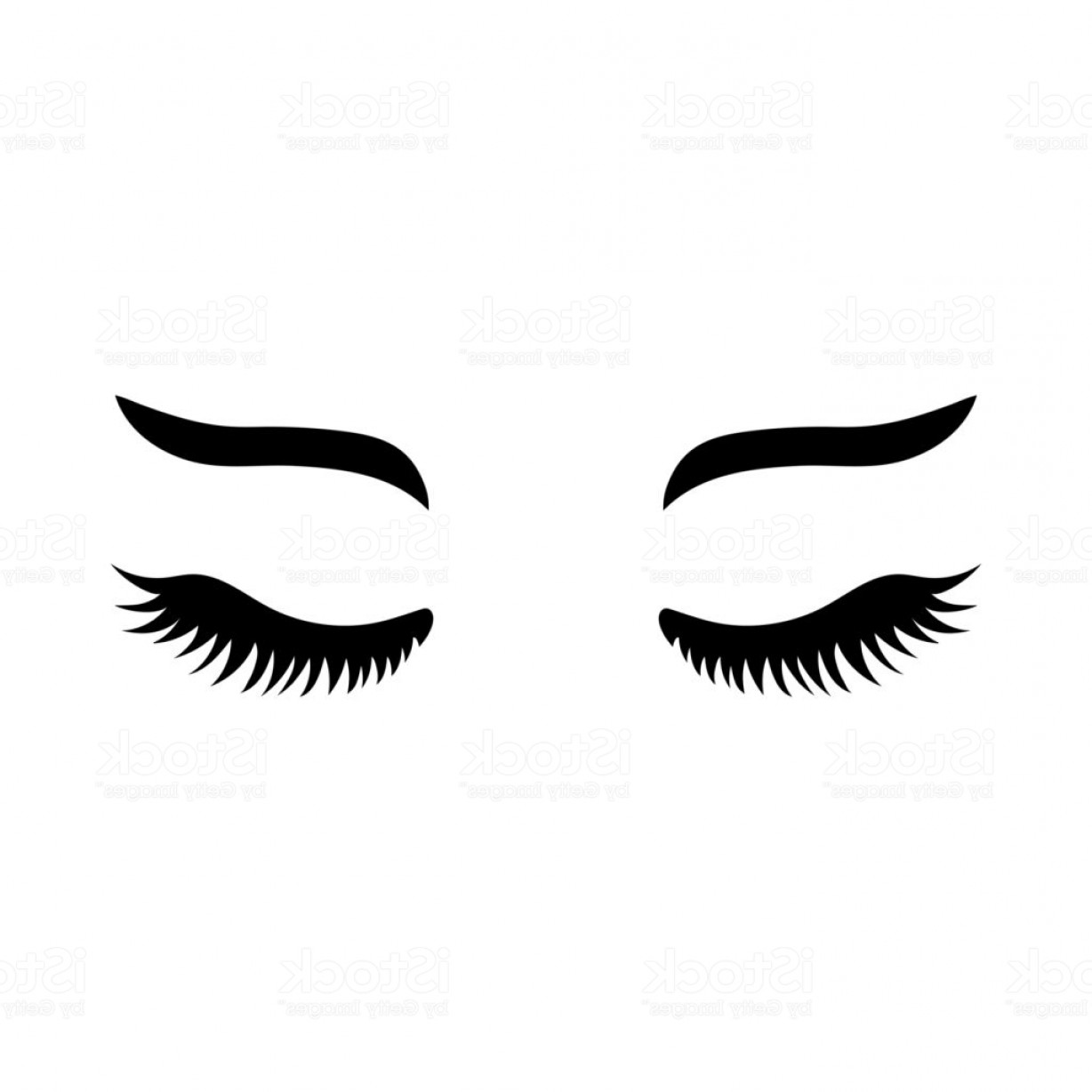 Top Eye Lashes Vector: Vector Eyelashes With Eyebrows Lashes Icon Close Eyes Gm