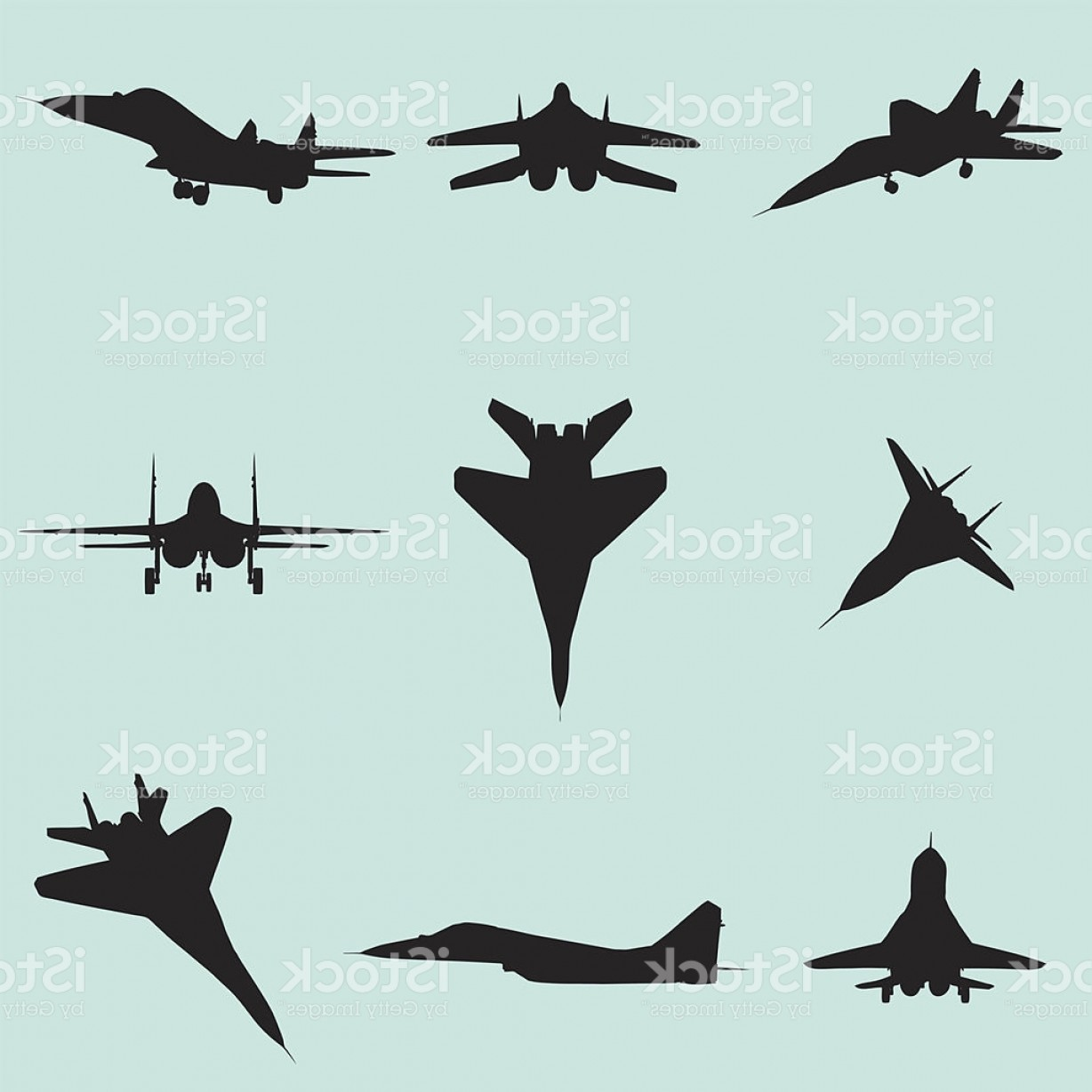 Vector Jet Fighter: Vector Fighter Jet Silhouette Set Gm