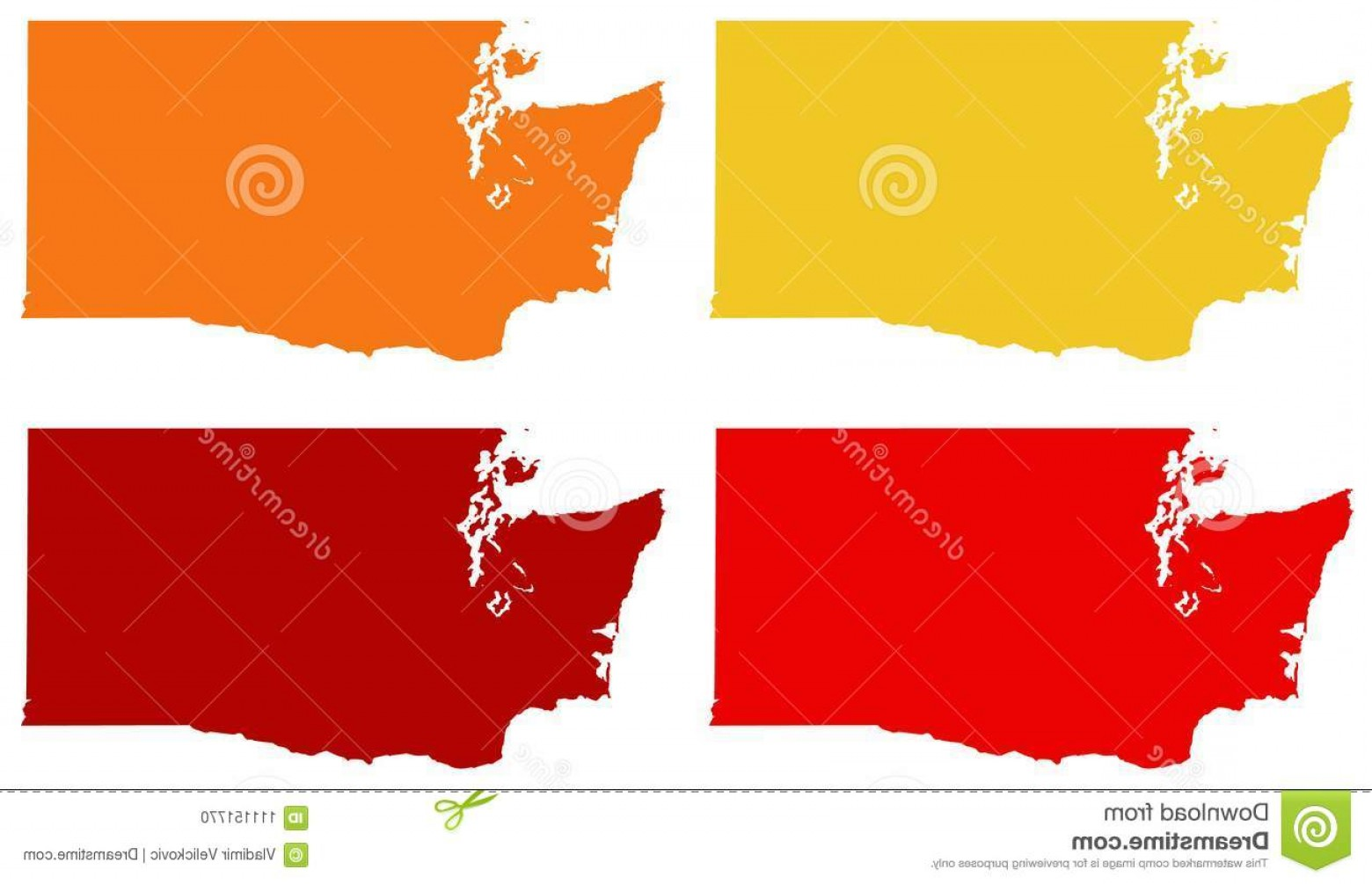 Washington State Map Vector: Vector File Washington State Map Pacific Northwest Region United States Image