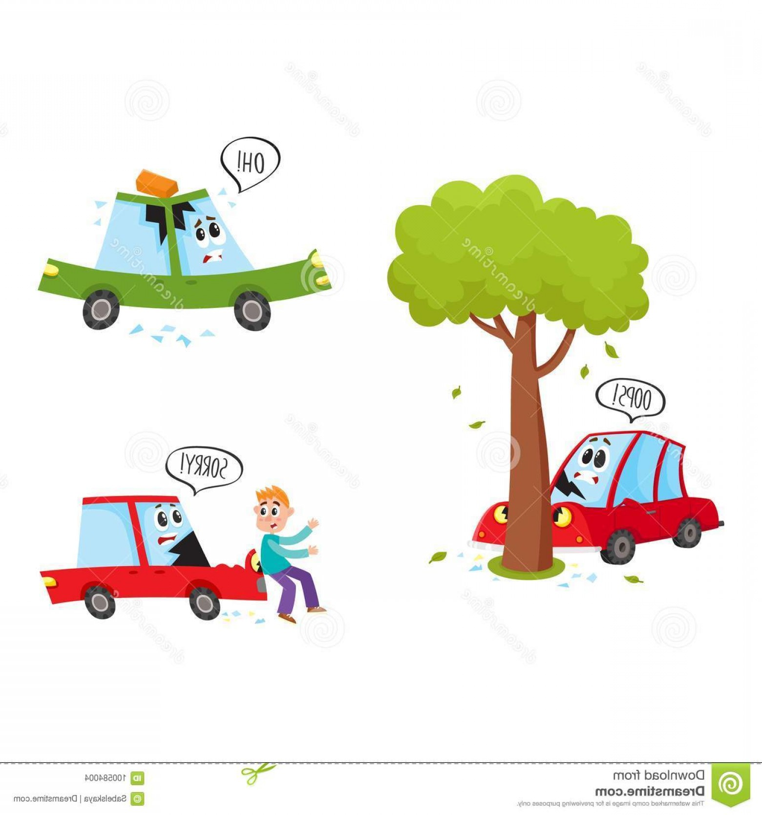 Face Side Pedestrian Vector: Vector Flat Car Characters Face Accident Set Vehicle Crashed Tree Saying Oops Hit Pedestrian Sorry Brick Fallen To Image