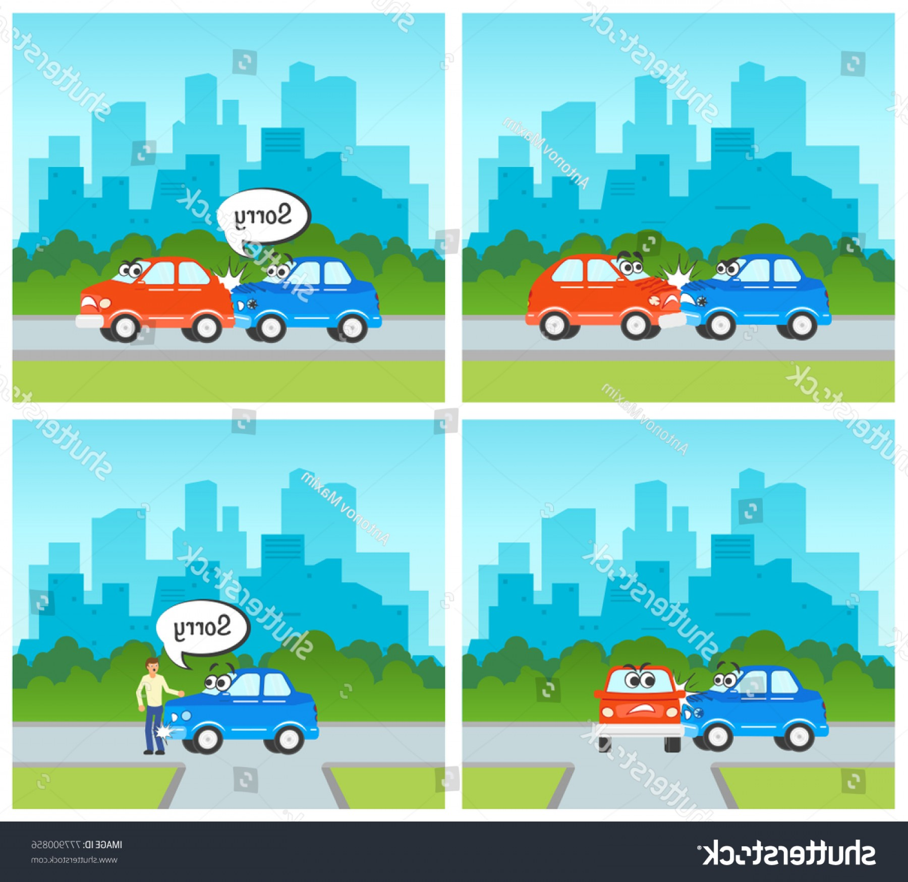 Face Side Pedestrian Vector: Vector Flat Cartoon Car Pedestrian Accidents
