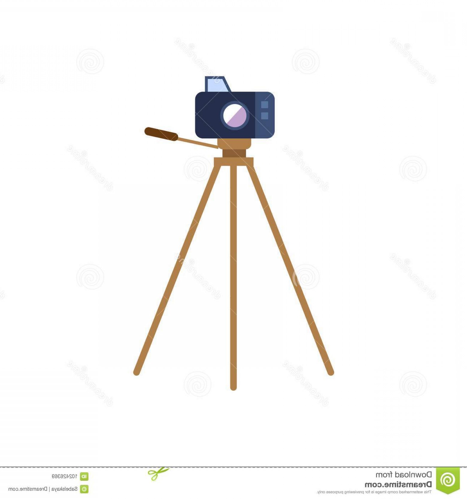 Vector Camera Stand: Vector Flat Cartoon Lens Photo Camera Standing Special Tripod Stand Front View Professional Photo Equipment Isolated Image