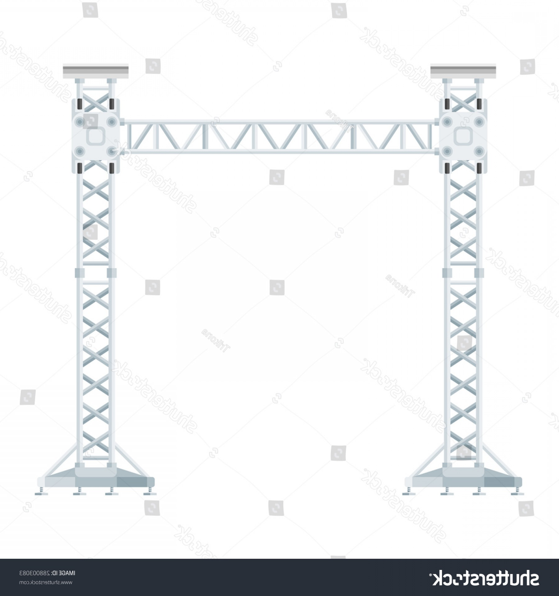 Aluminum Truss Design Vector: Vector Flat Design Stage Sound Lighting