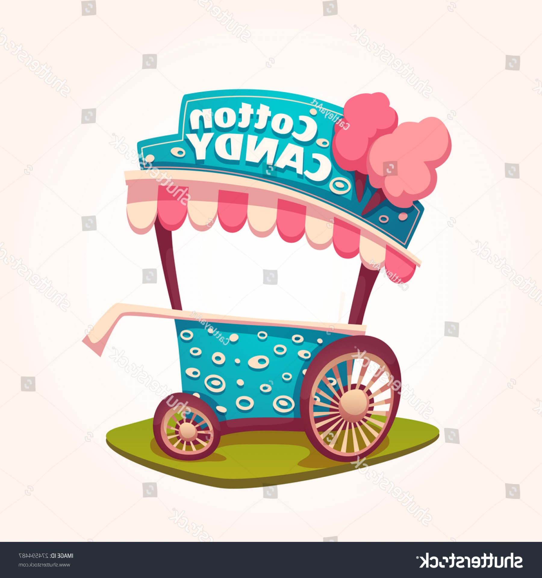 Candy Seller Vector: Vector Flat Illustration Cotton Candy Cart