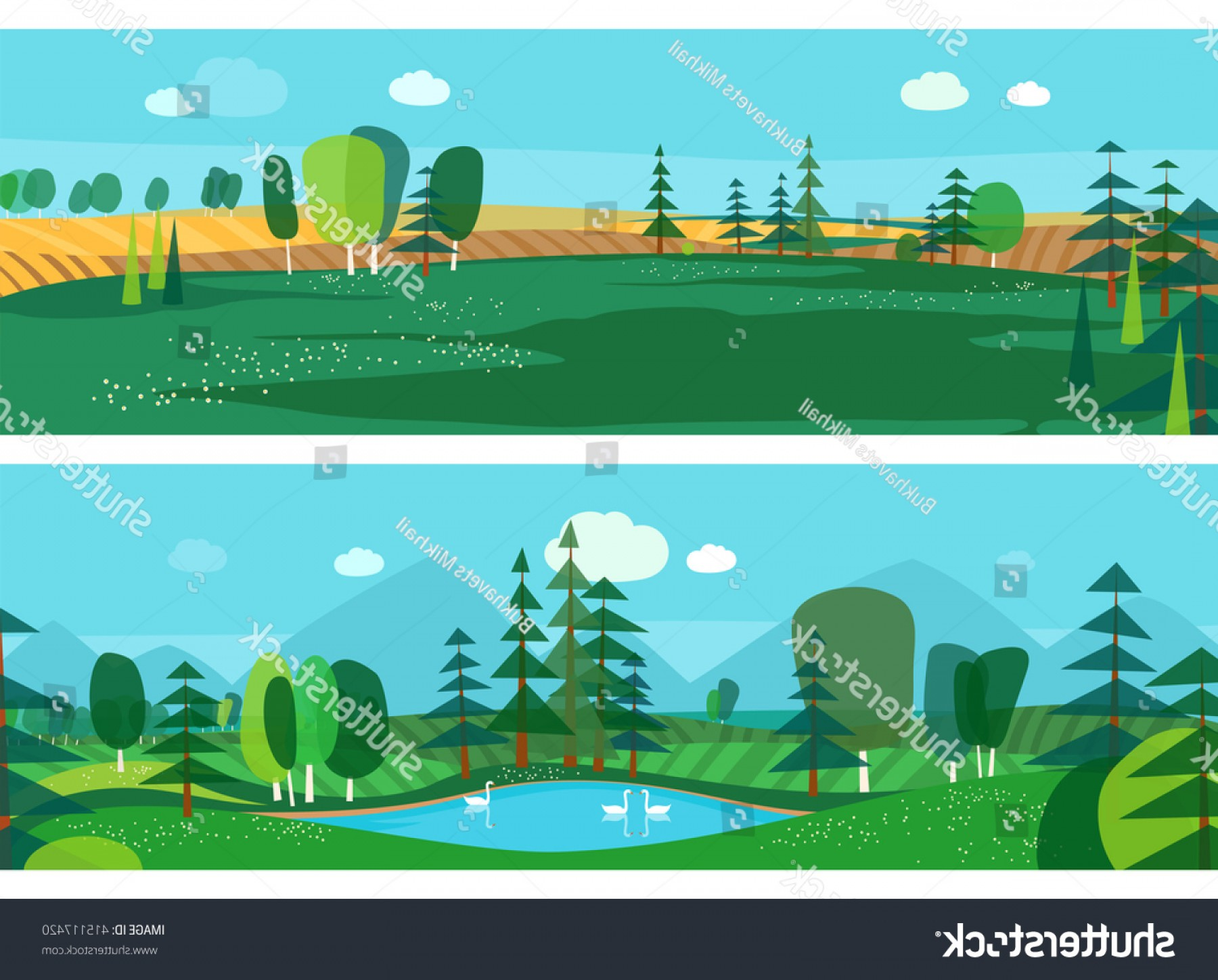 Flat Vector Art And Abstract Forest: Vector Flat Illustrations Abstract Forest Wildlife