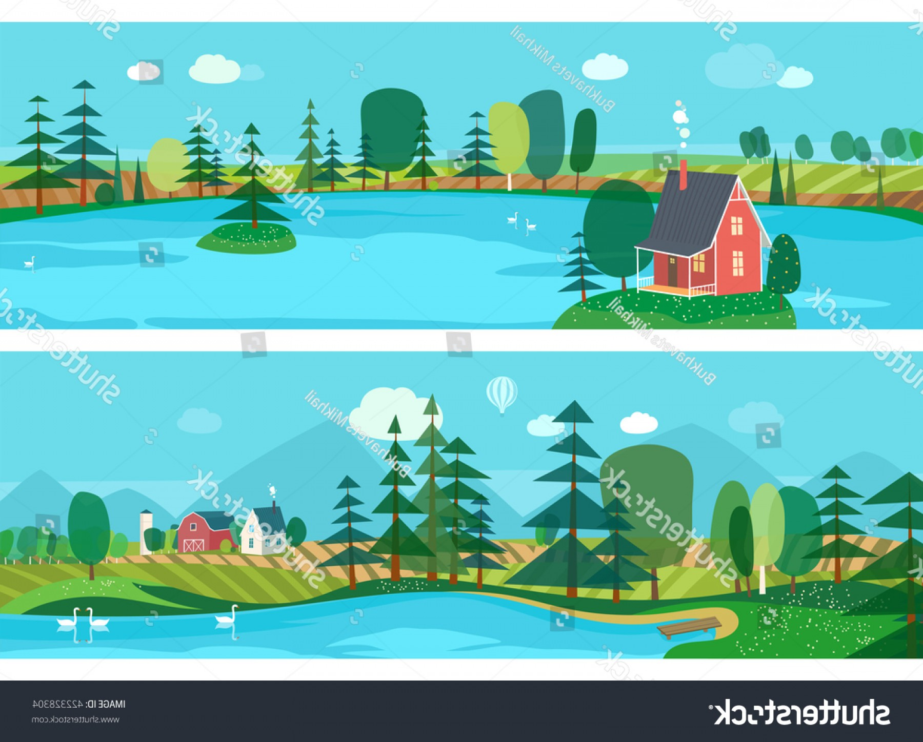 Flat Vector Art And Abstract Forest: Vector Flat Illustrations Eco Farm Abstract