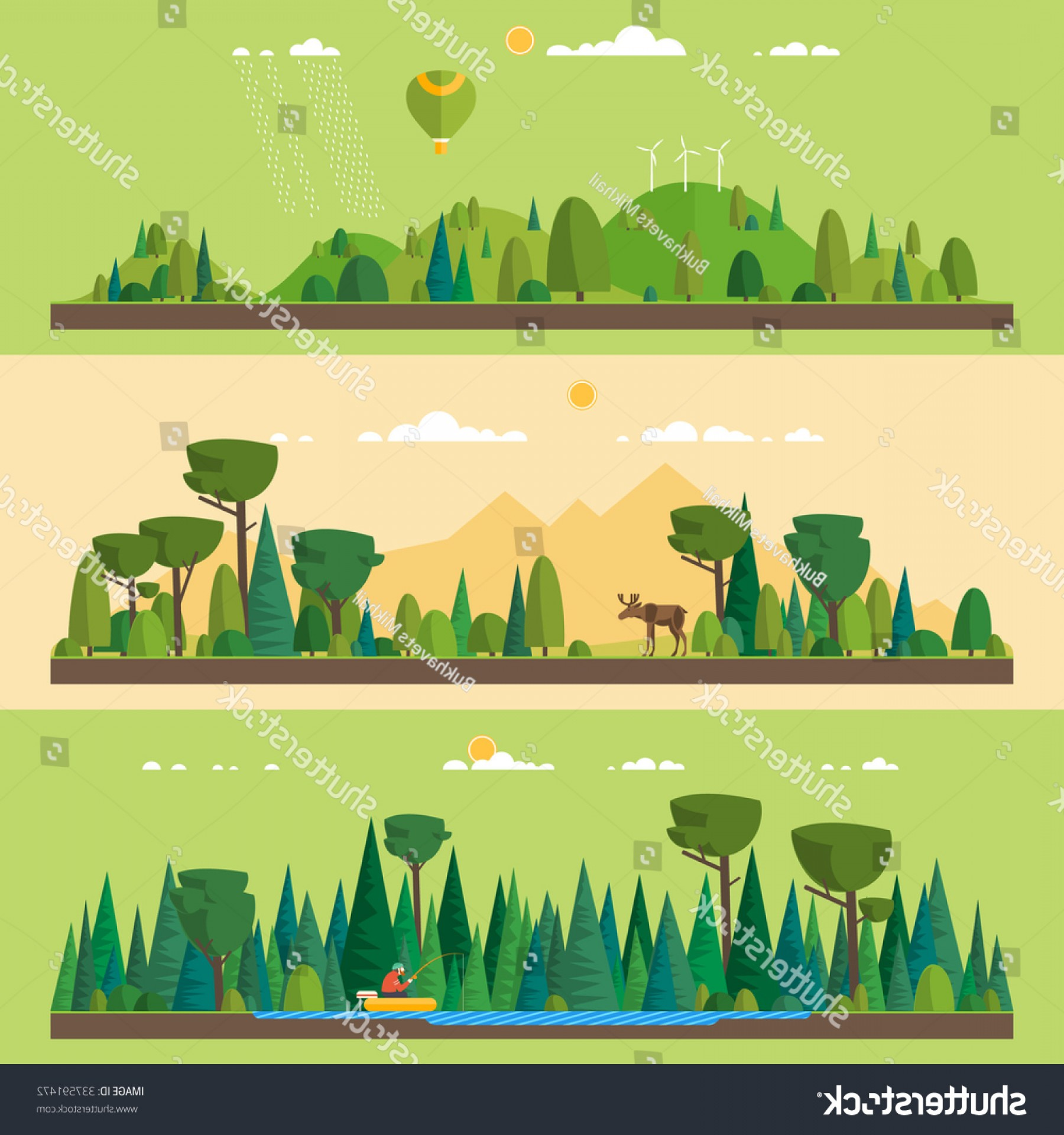 Flat Vector Art And Abstract Forest: Vector Flat Illustrations Eco Style Life