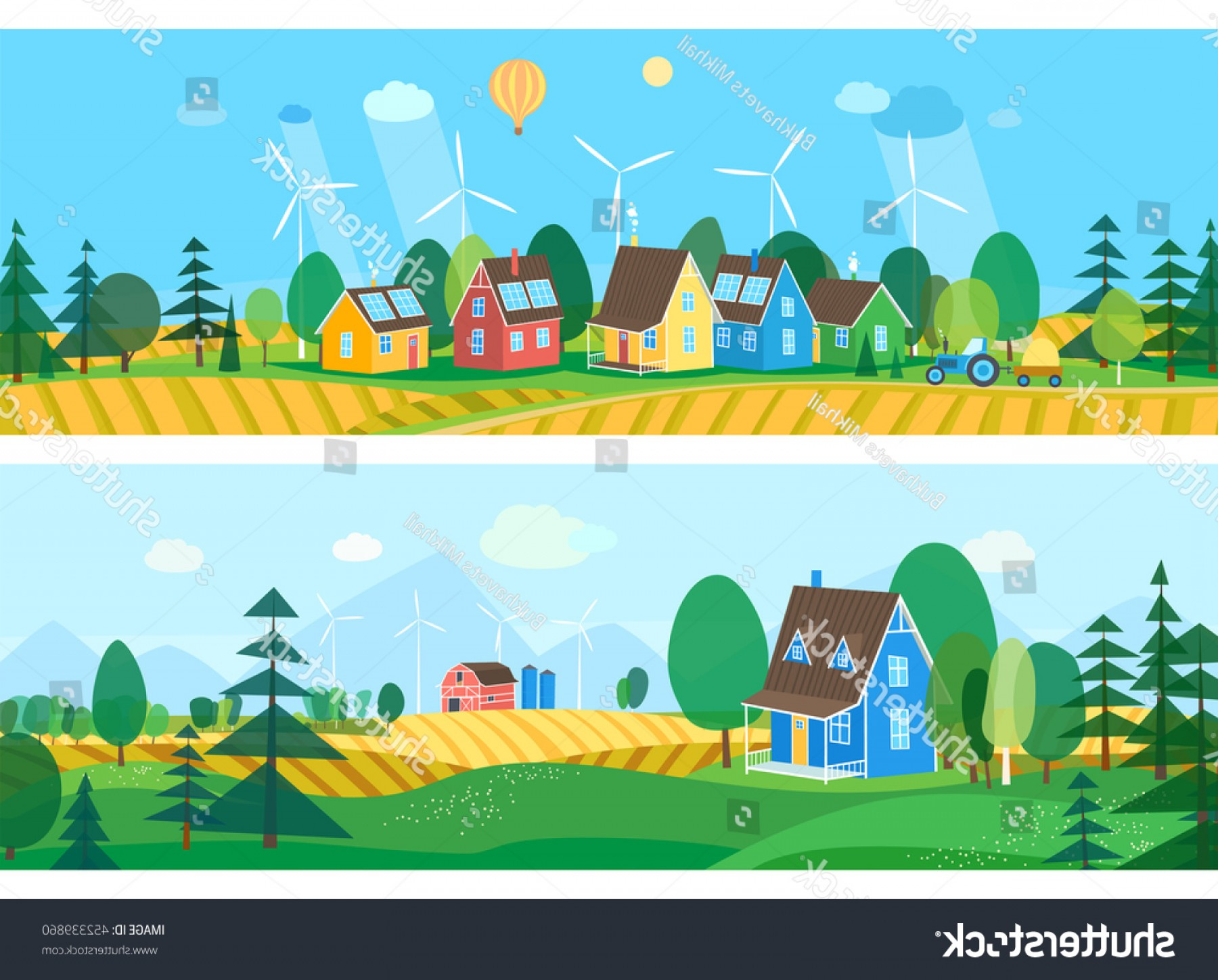Flat Vector Art And Abstract Forest: Vector Flat Illustrations Eco Village Abstract